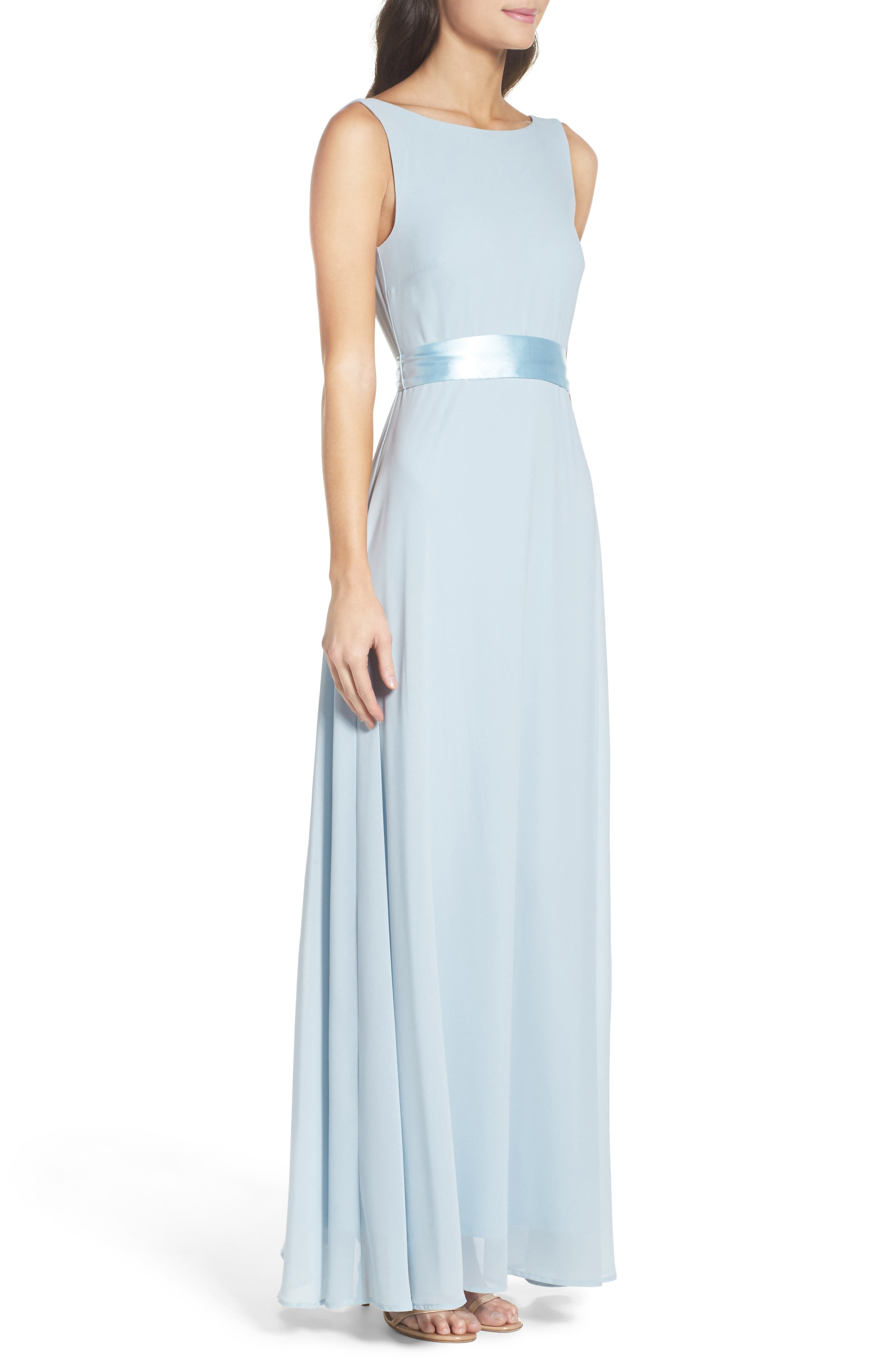 Belted V-Back Chiffon Gown,                             Alternate thumbnail 3, color,                             400