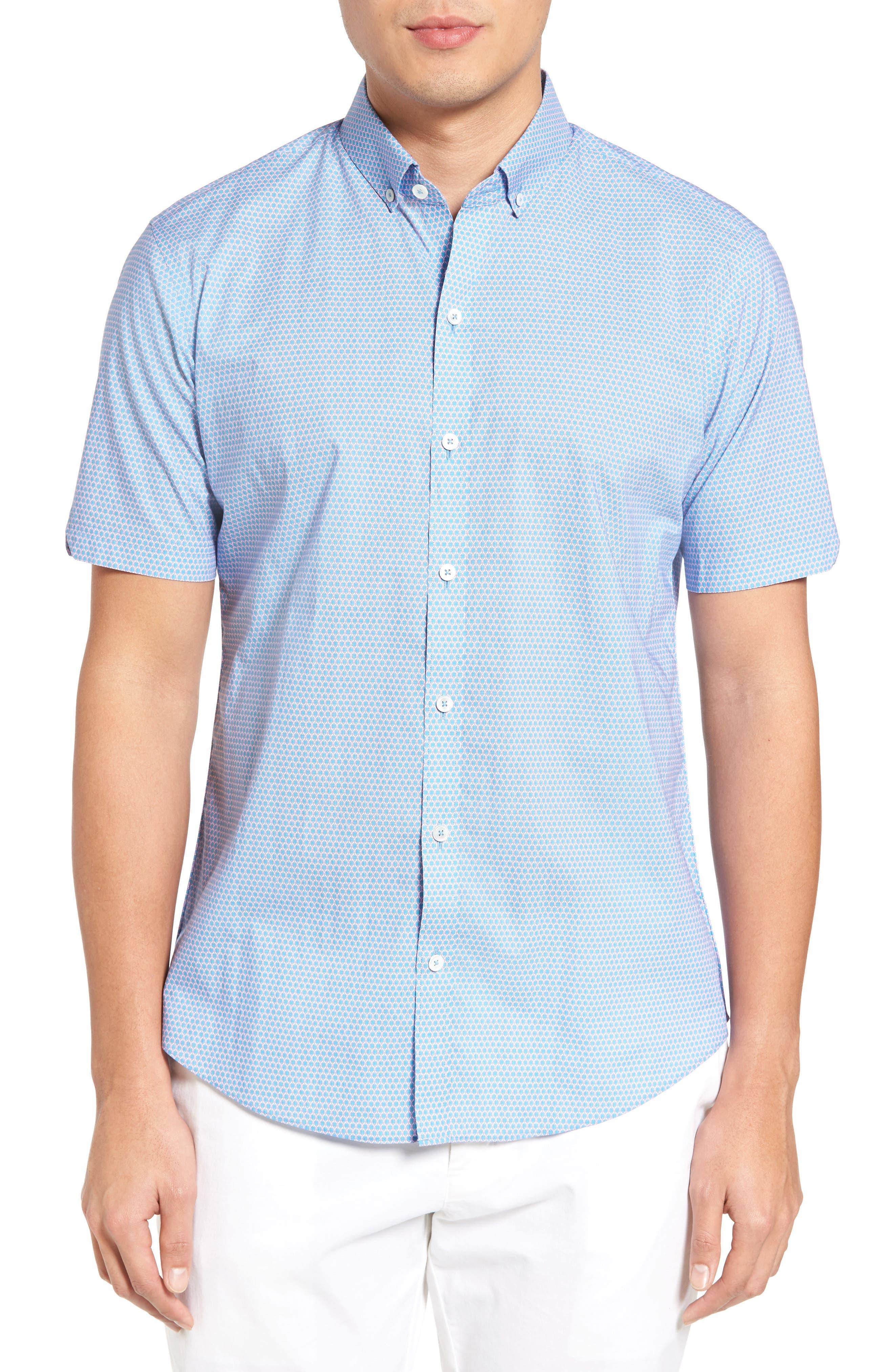 Parker Trim Fit Print Sport Shirt,                         Main,                         color, 440