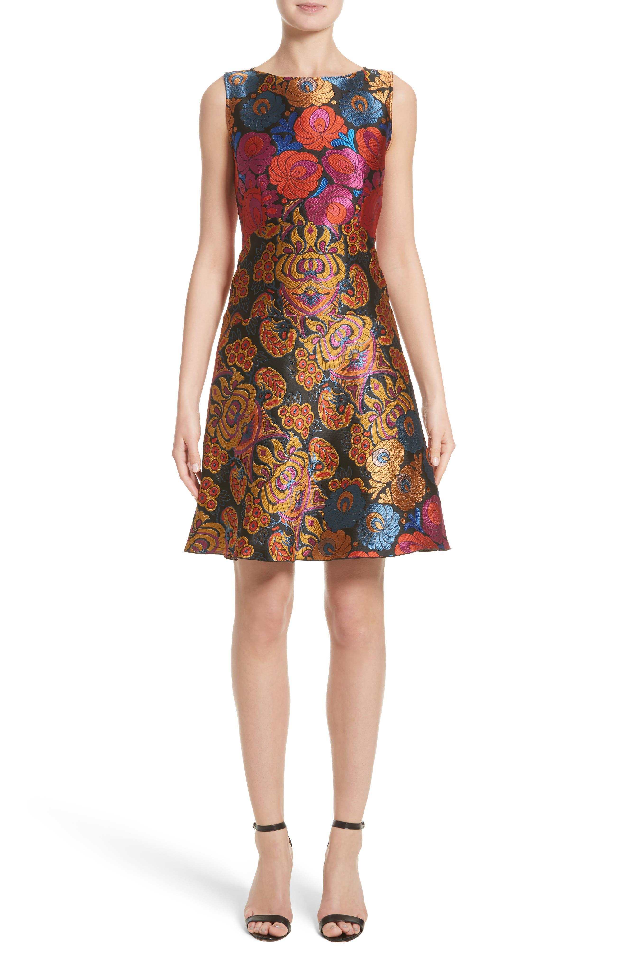 Sleeveless Brocade Dress,                             Main thumbnail 1, color,                             001