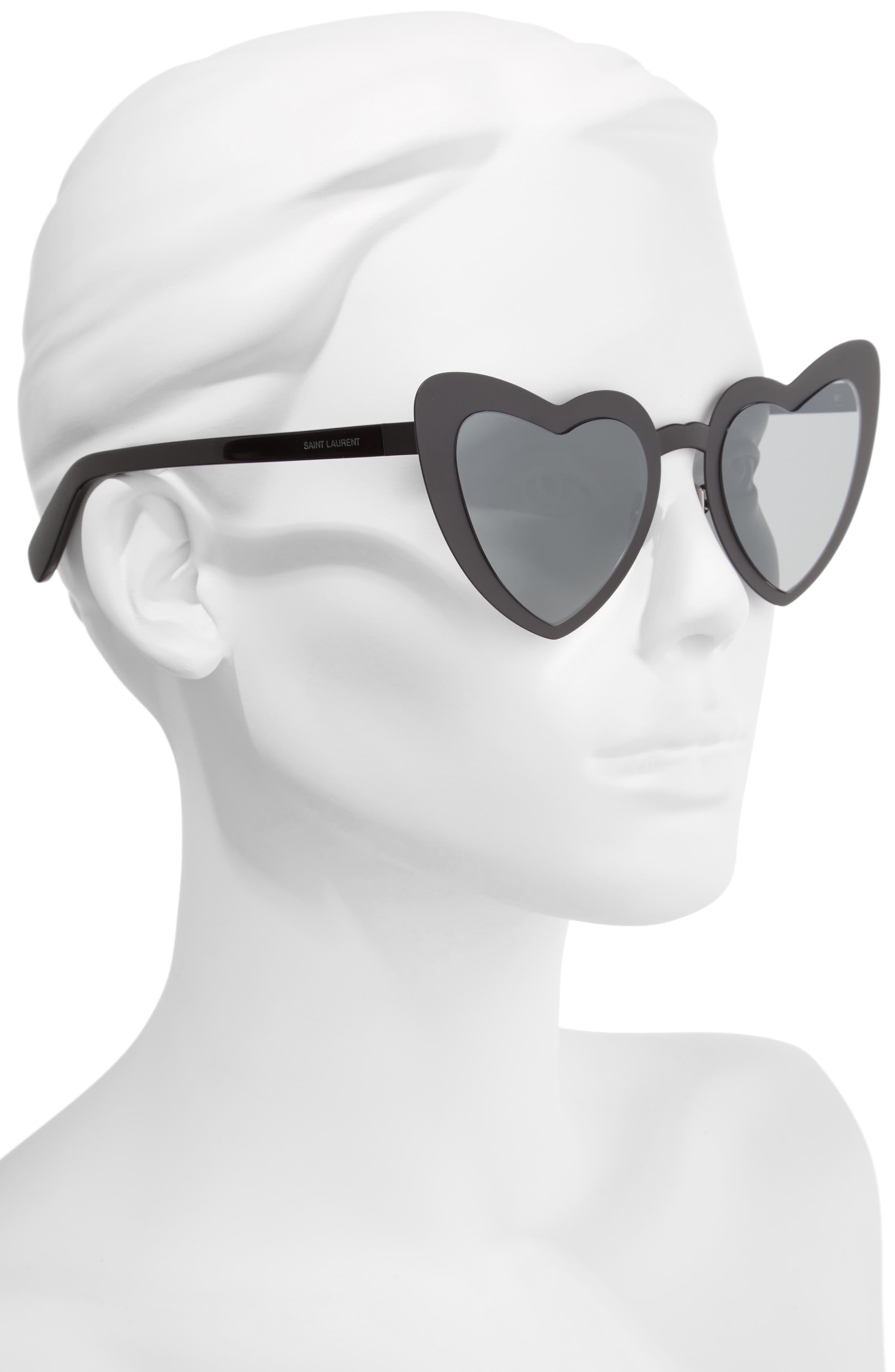 Loulou 55mm Heart Shaped Sunglasses,                             Alternate thumbnail 2, color,                             BLACK