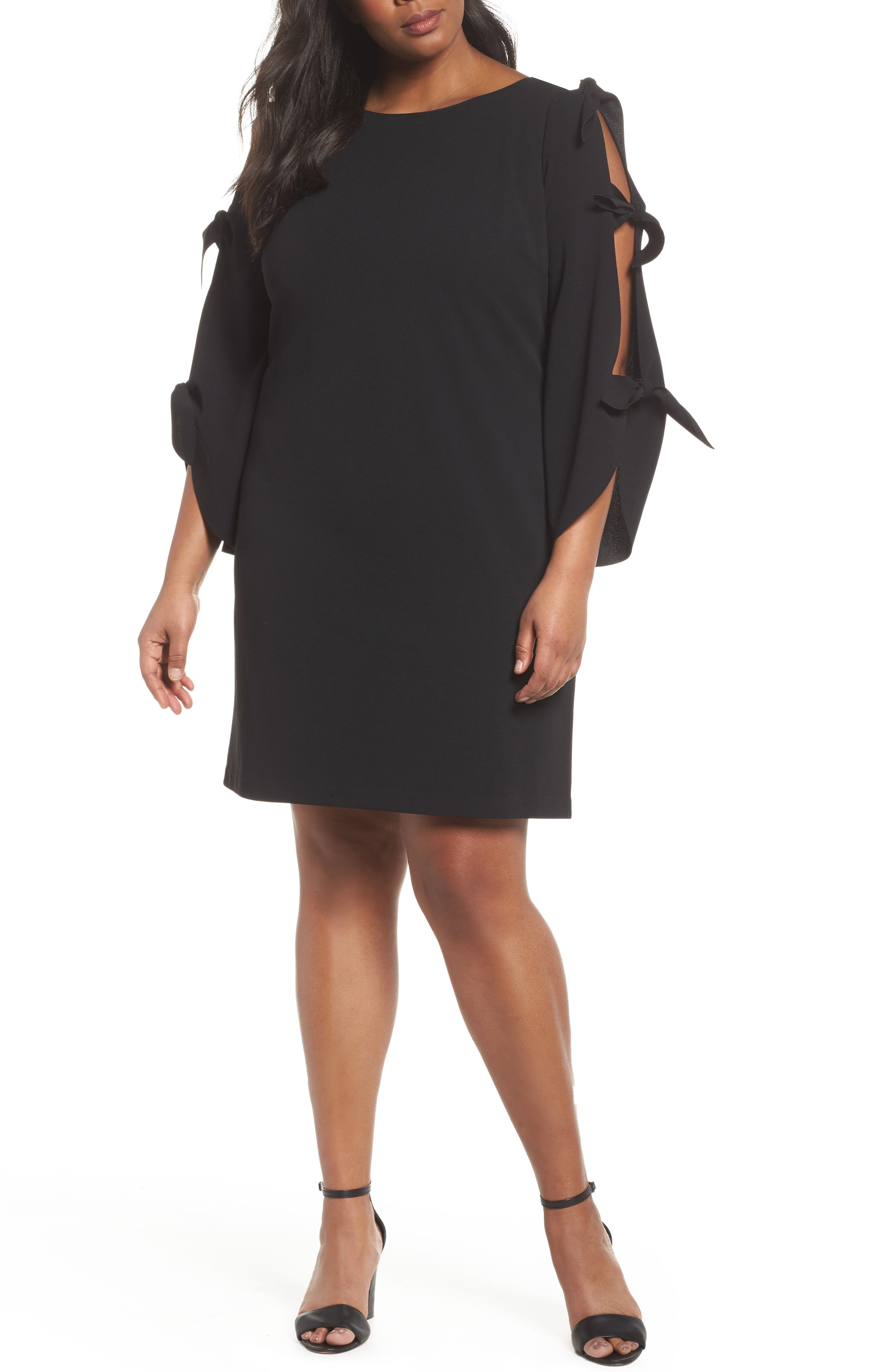 Tie Bell Sleeve Ponte Shift Dress,                             Main thumbnail 1, color,                             001