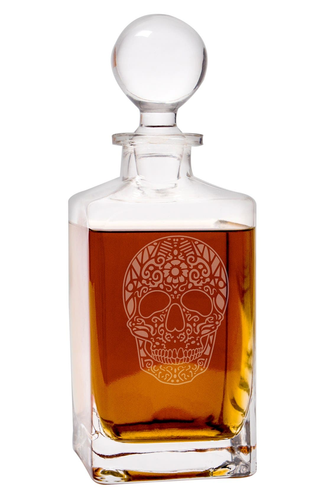 'Sugar Skull' Glass Decanter,                             Alternate thumbnail 3, color,                             CLEAR