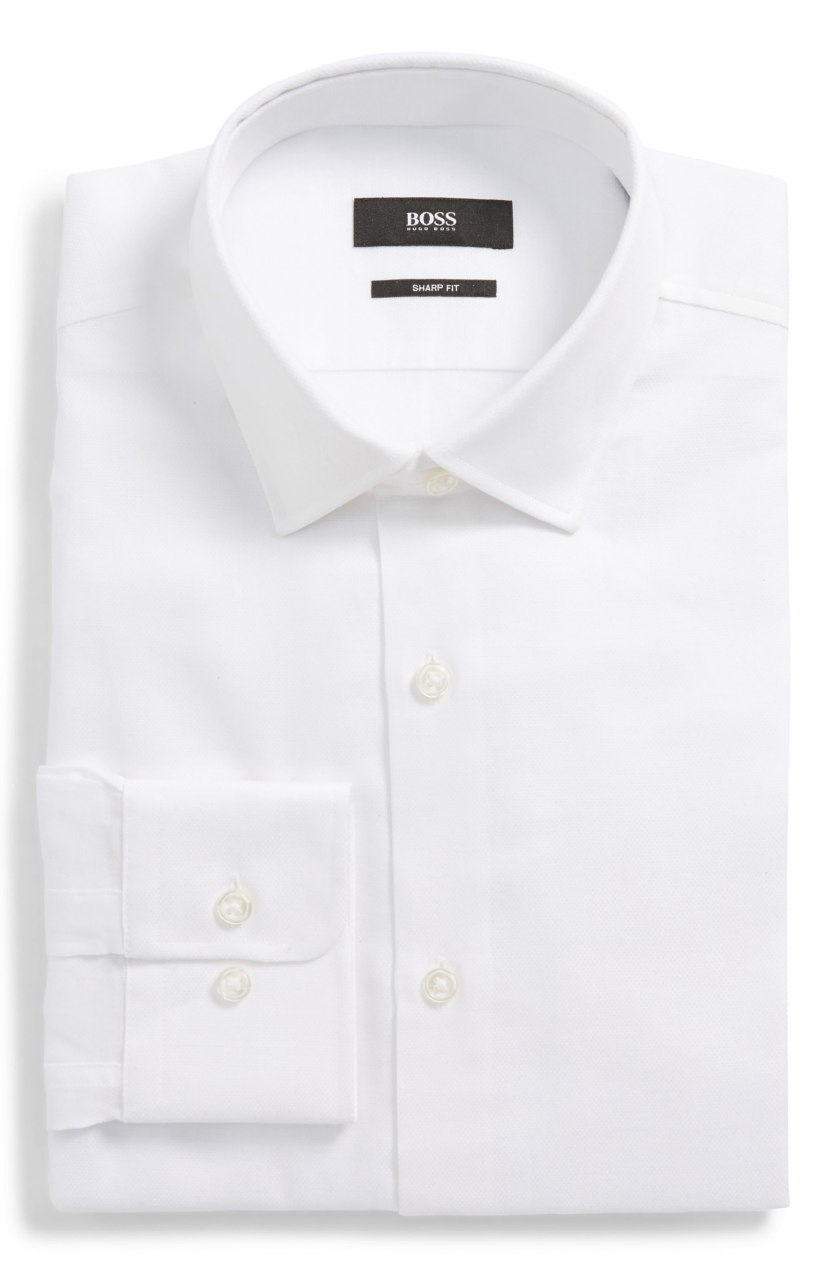 Marley Sharp Fit Dress Shirt,                             Main thumbnail 1, color,                             WHITE