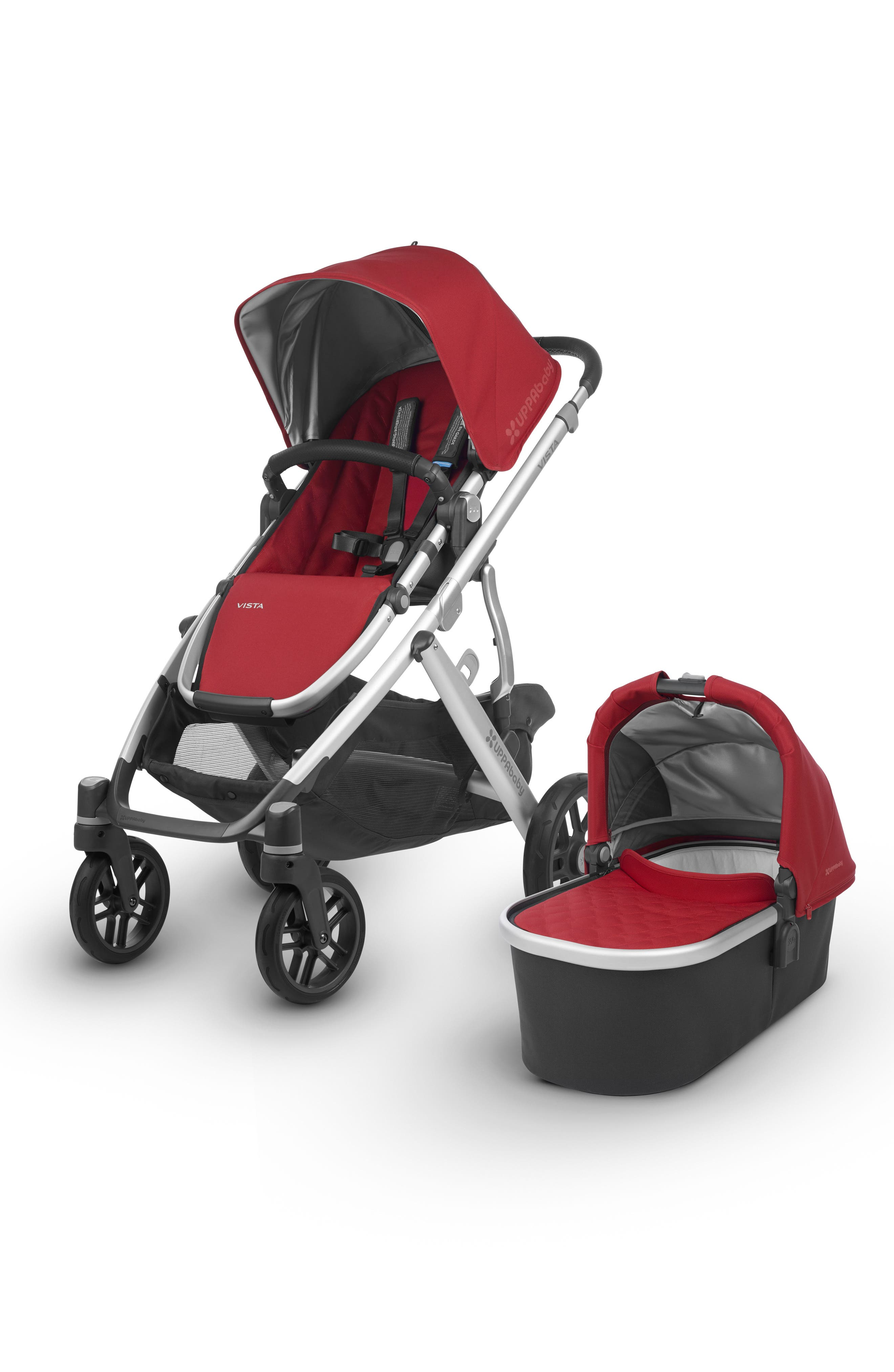 Infant Uppababy 2018 Vista Aluminum Frame Convertible Complete Stroller With Leather Trim