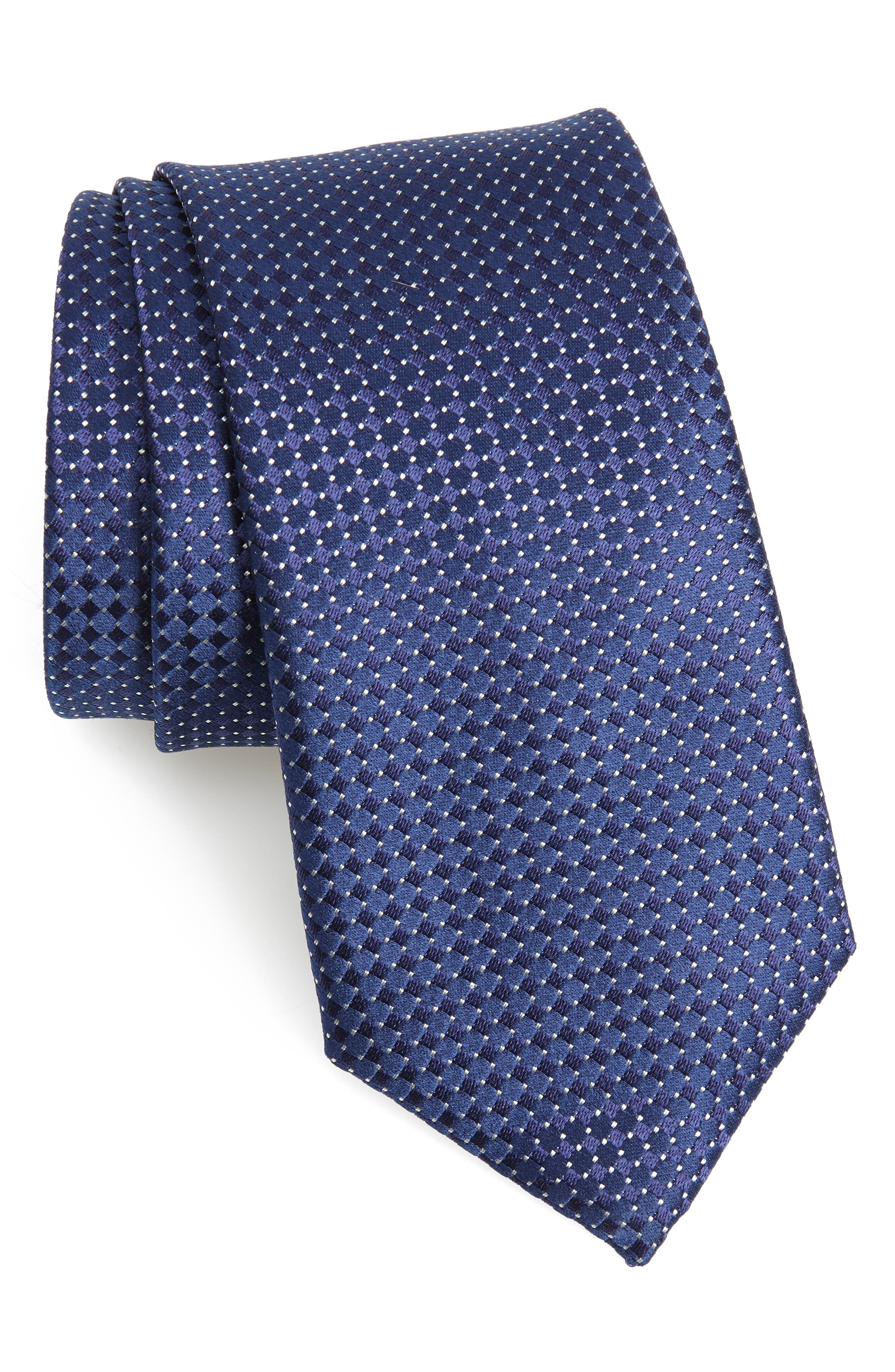 Neat Silk Tie,                             Main thumbnail 1, color,                             NAVY