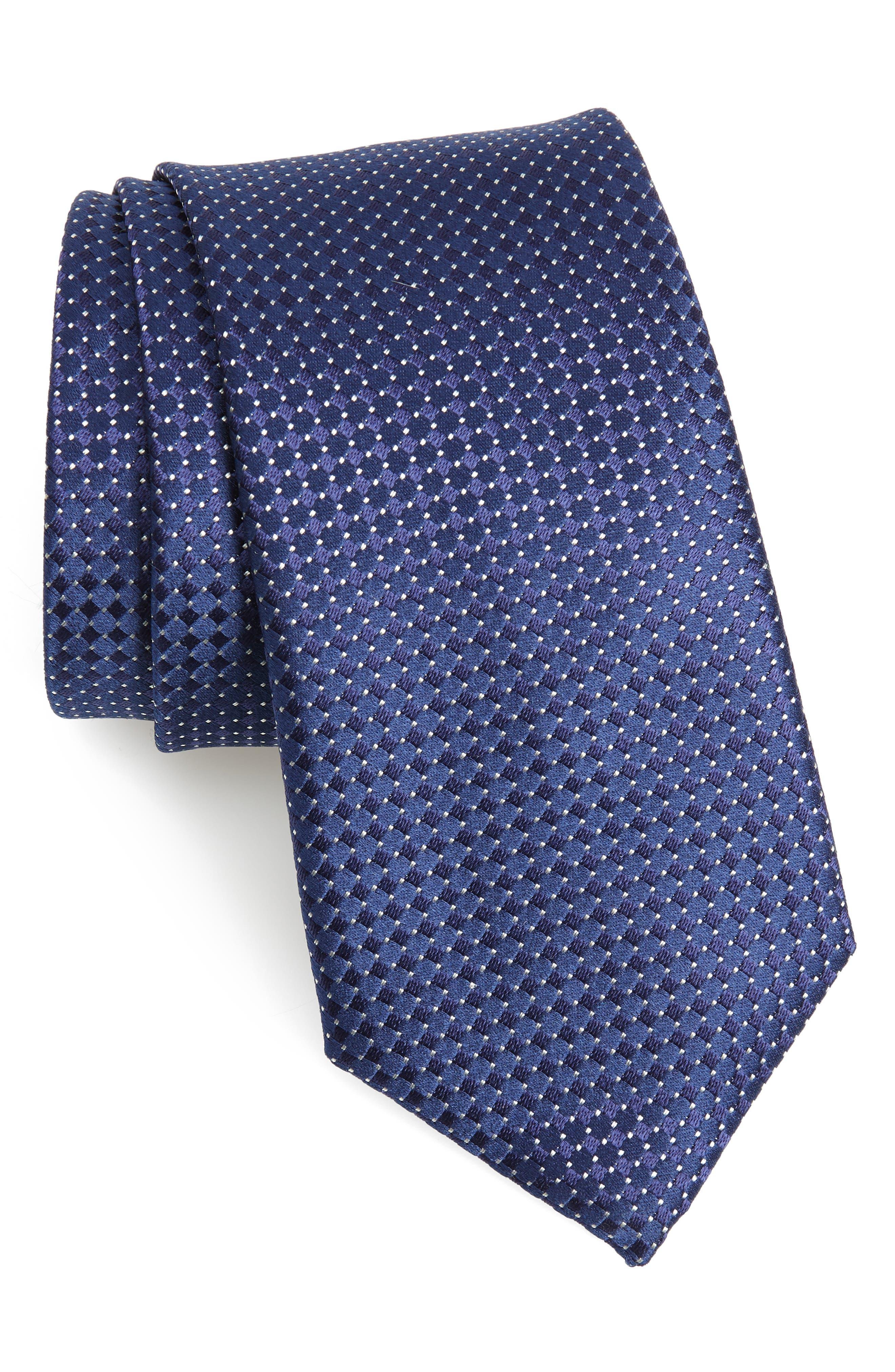 Neat Silk Tie,                         Main,                         color, NAVY