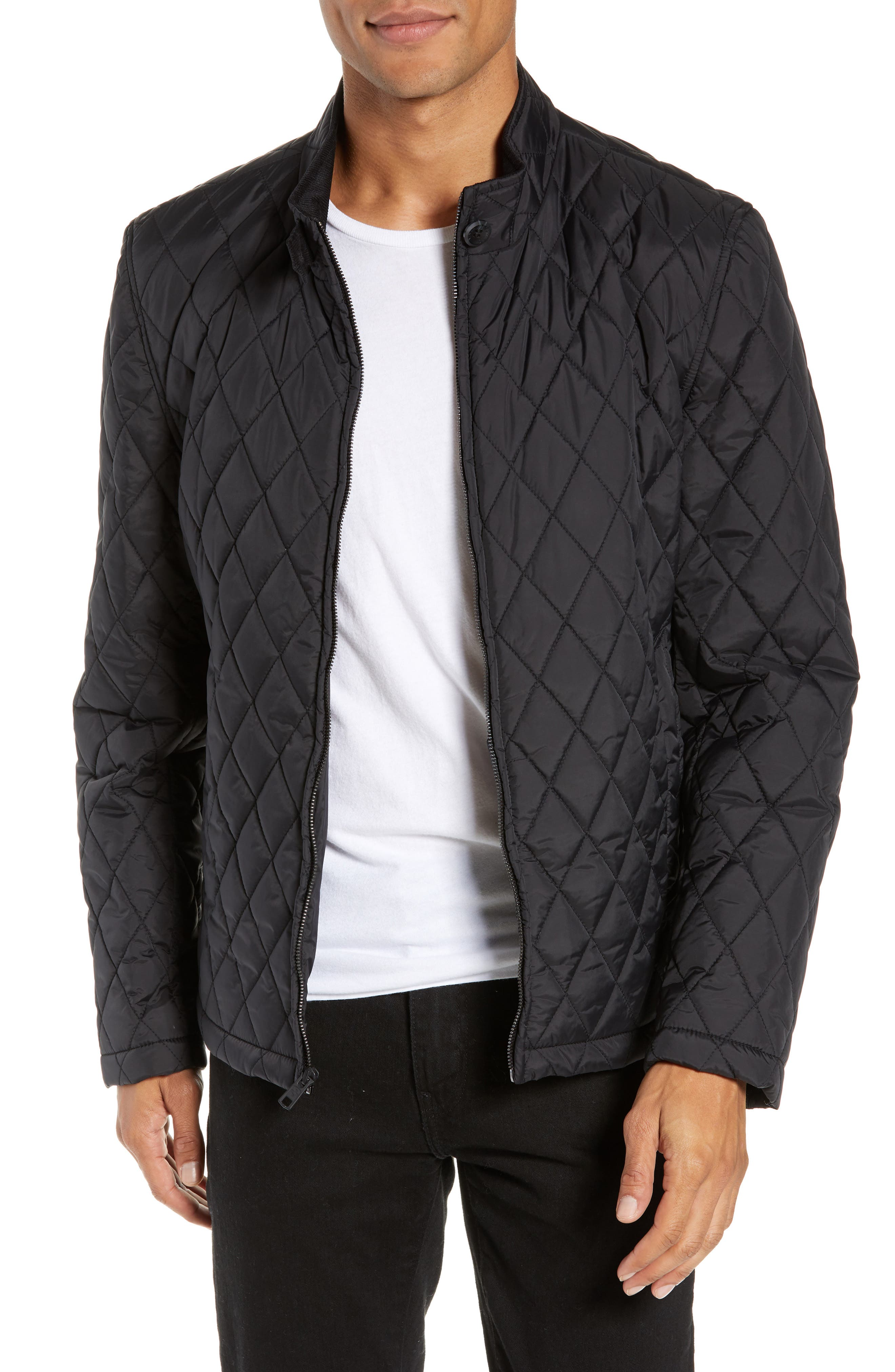Quilted Moto Jacket,                             Main thumbnail 1, color,                             BLACK
