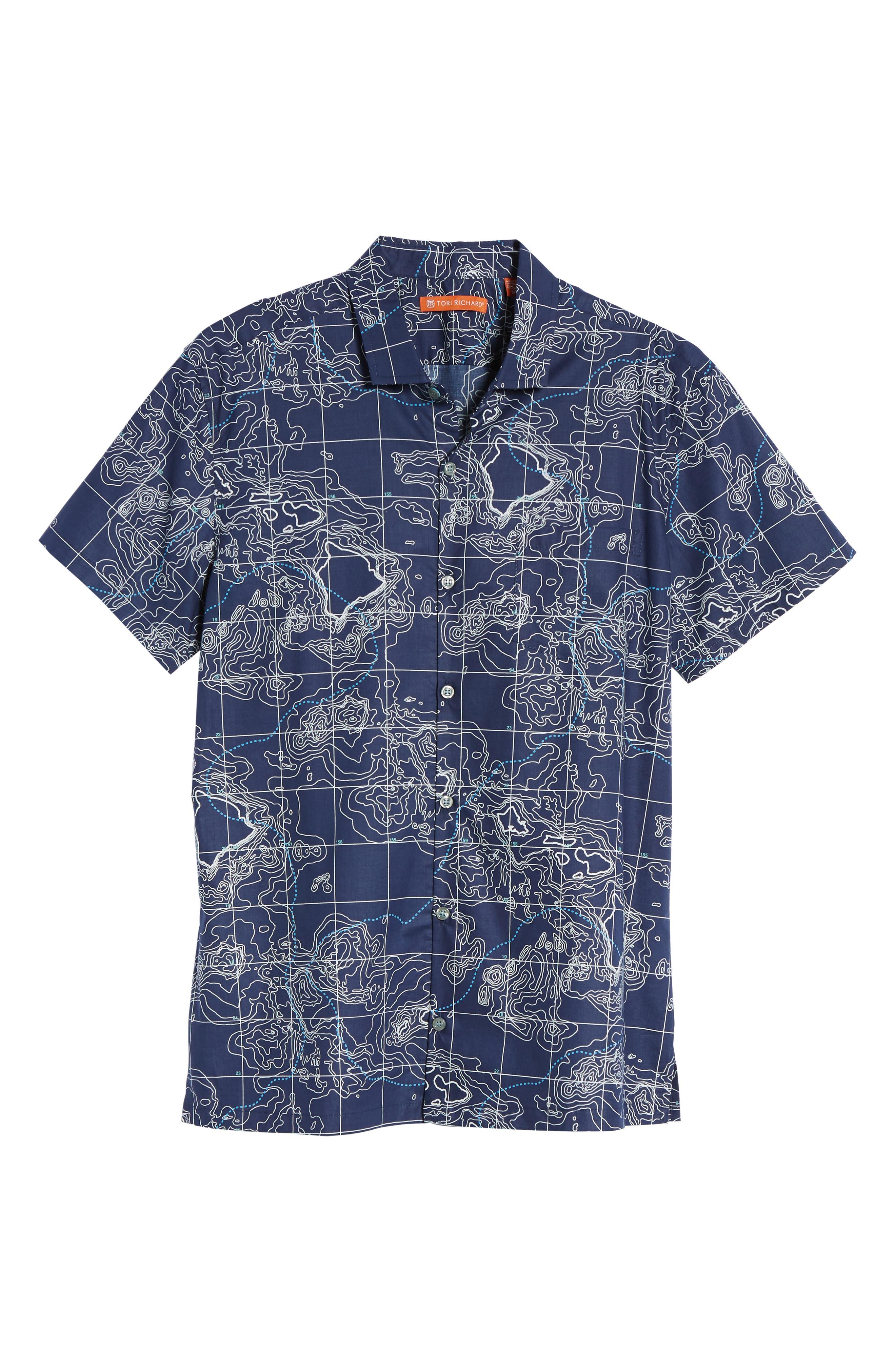 21N 158W Trim Fit Camp Shirt,                             Alternate thumbnail 6, color,                             NAVY