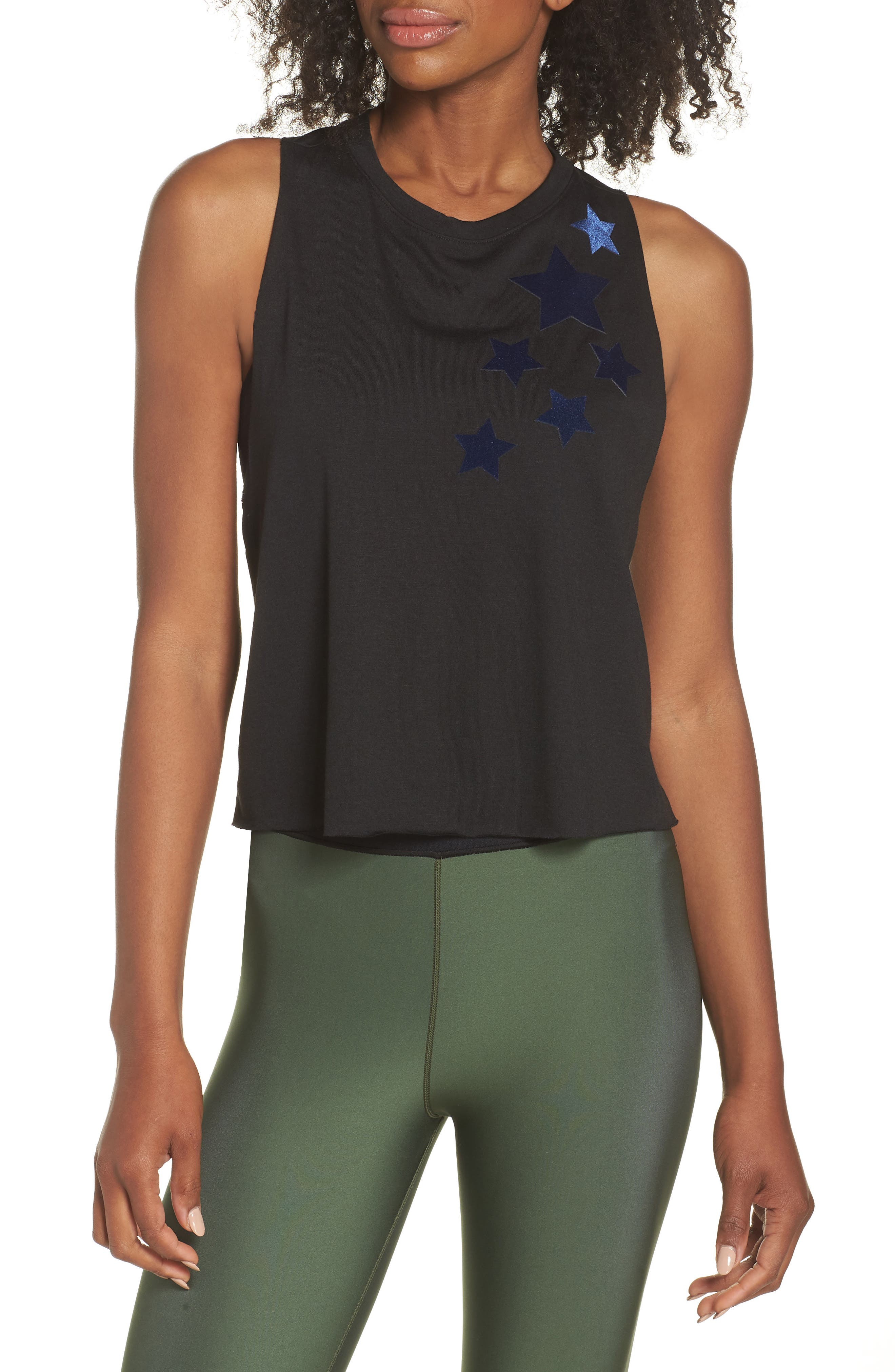 Velvet Stars Racerback Tank,                         Main,                         color, NERO/ NAVY