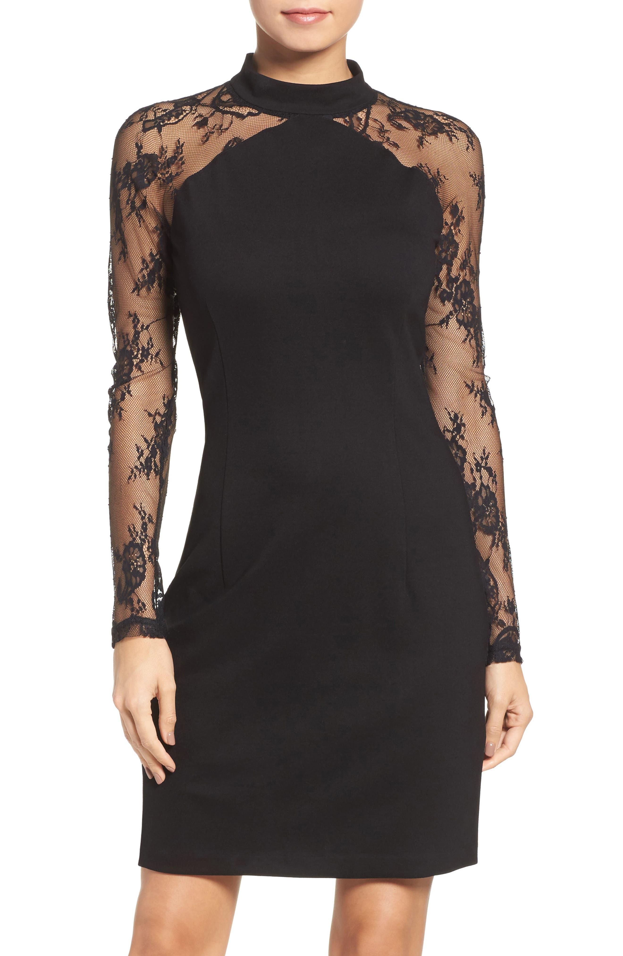 Lace & Ponte Dress,                             Alternate thumbnail 2, color,                             001