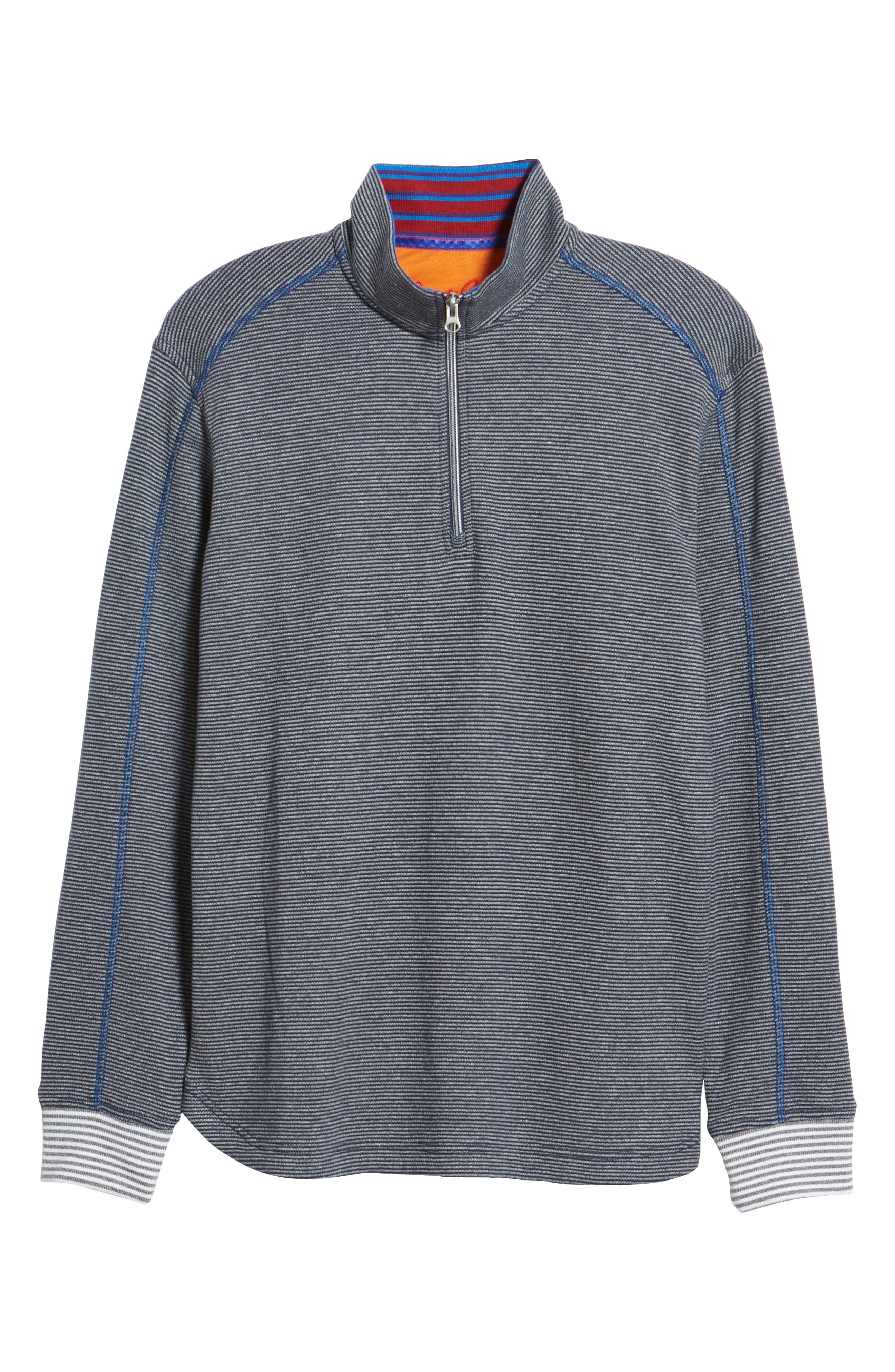 Kitson Classic Fit Stripe Quarter Zip Sweater,                             Alternate thumbnail 6, color,                             HEATHER NAVY