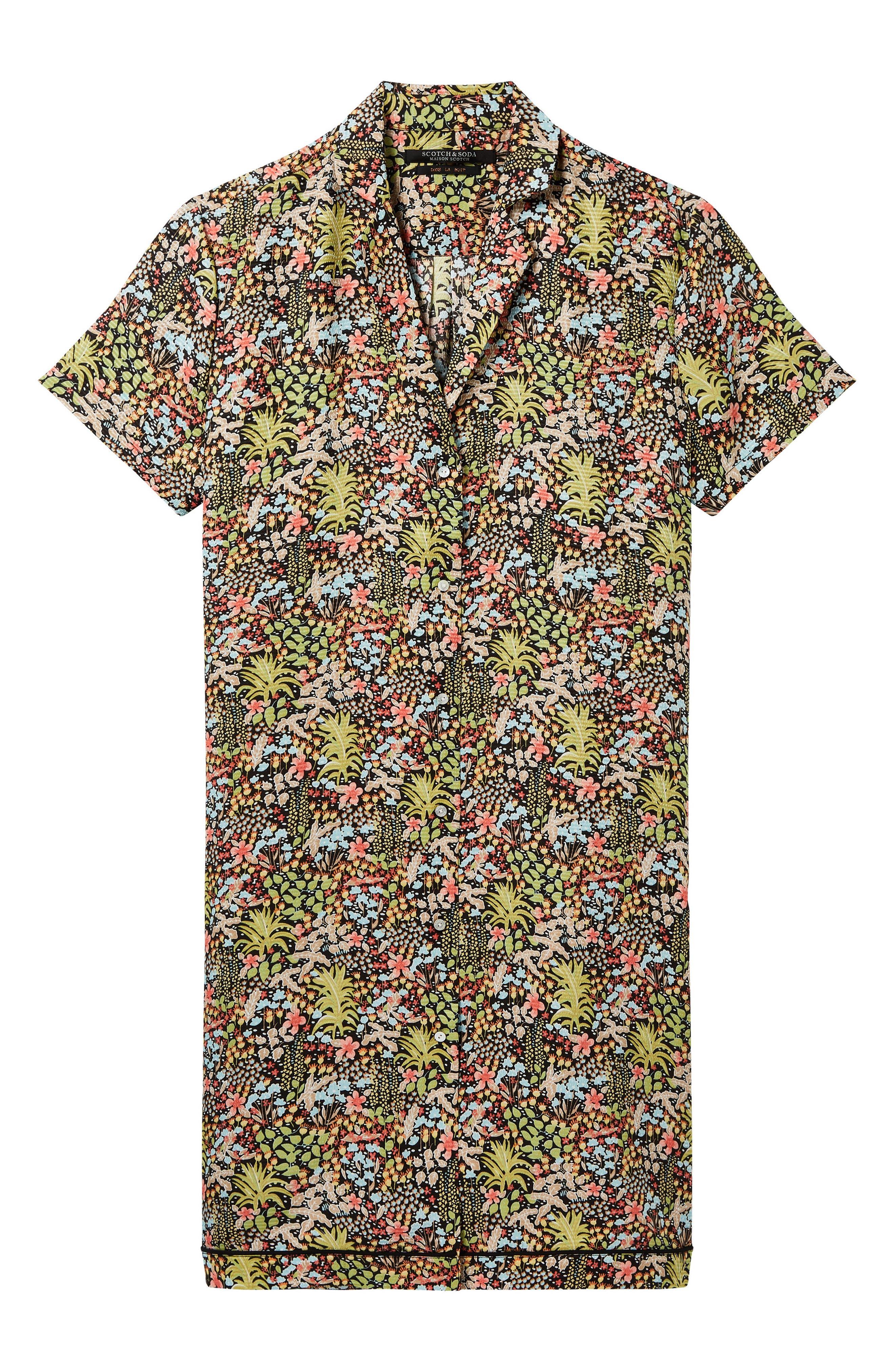Tropical Print Shirtdress,                             Alternate thumbnail 4, color,                             420