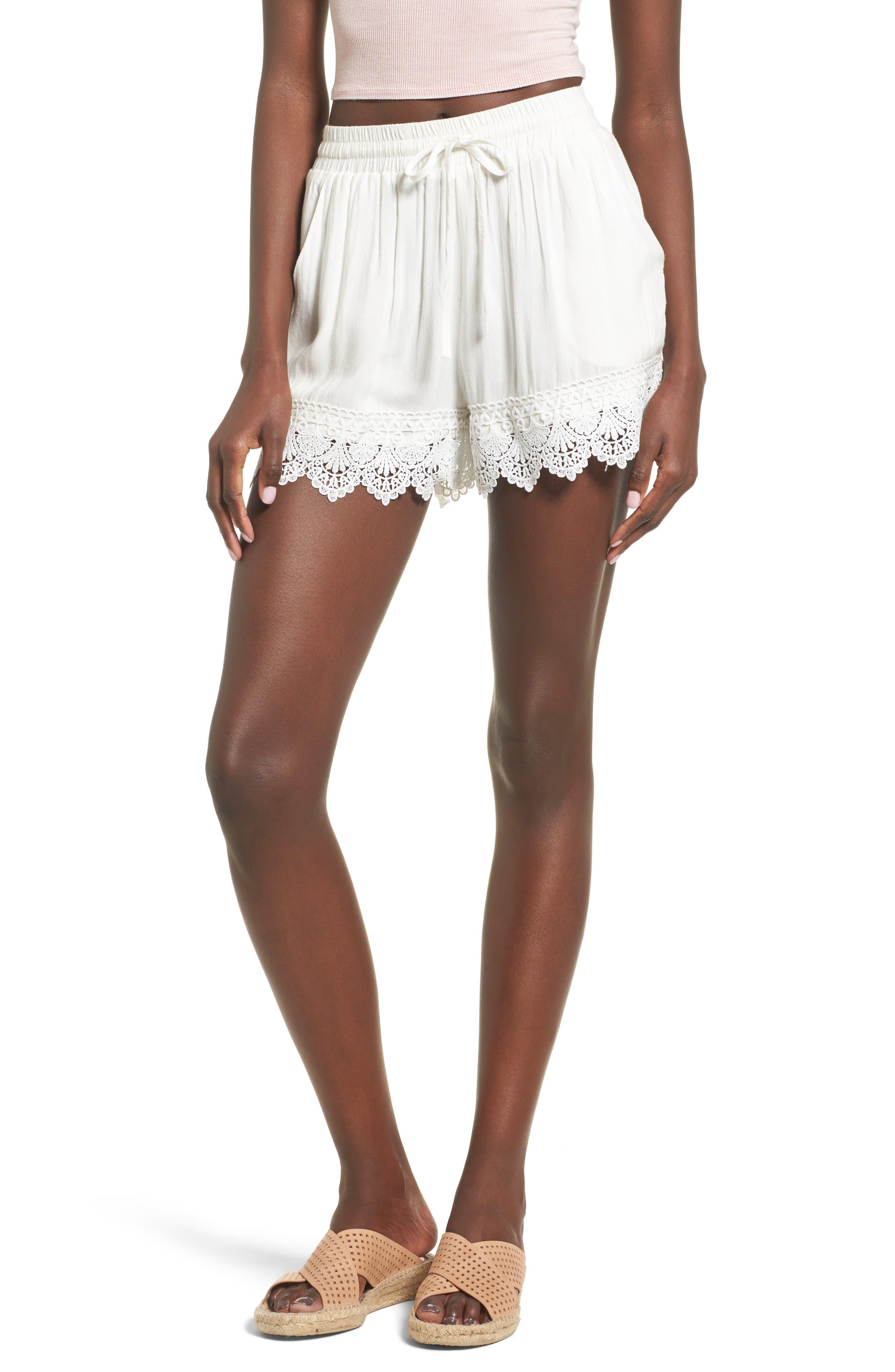 Lace Hem Shorts,                             Main thumbnail 1, color,                             100