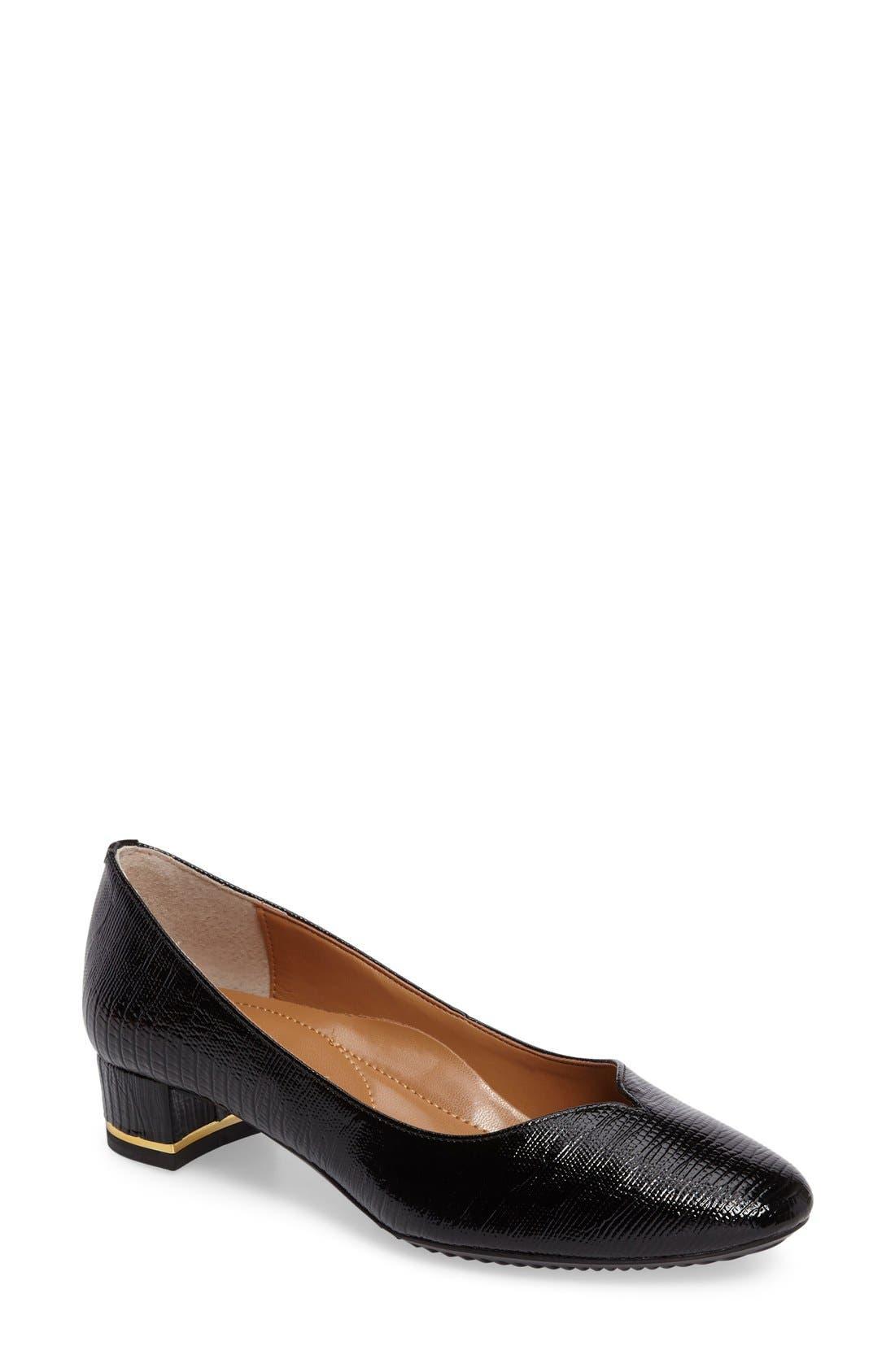 Bambalina Block Heel Pump,                         Main,                         color, BLACK FAUX LEATHER