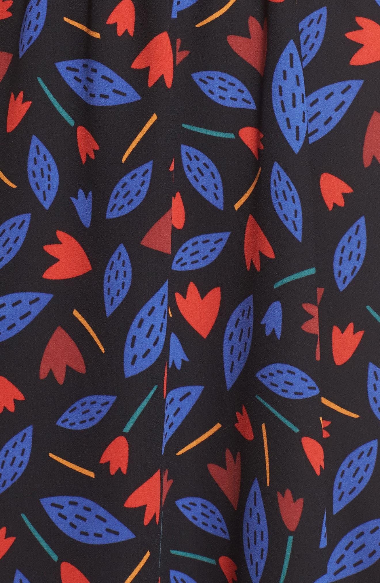 Print Drawstring Midi Dress,                             Alternate thumbnail 5, color,