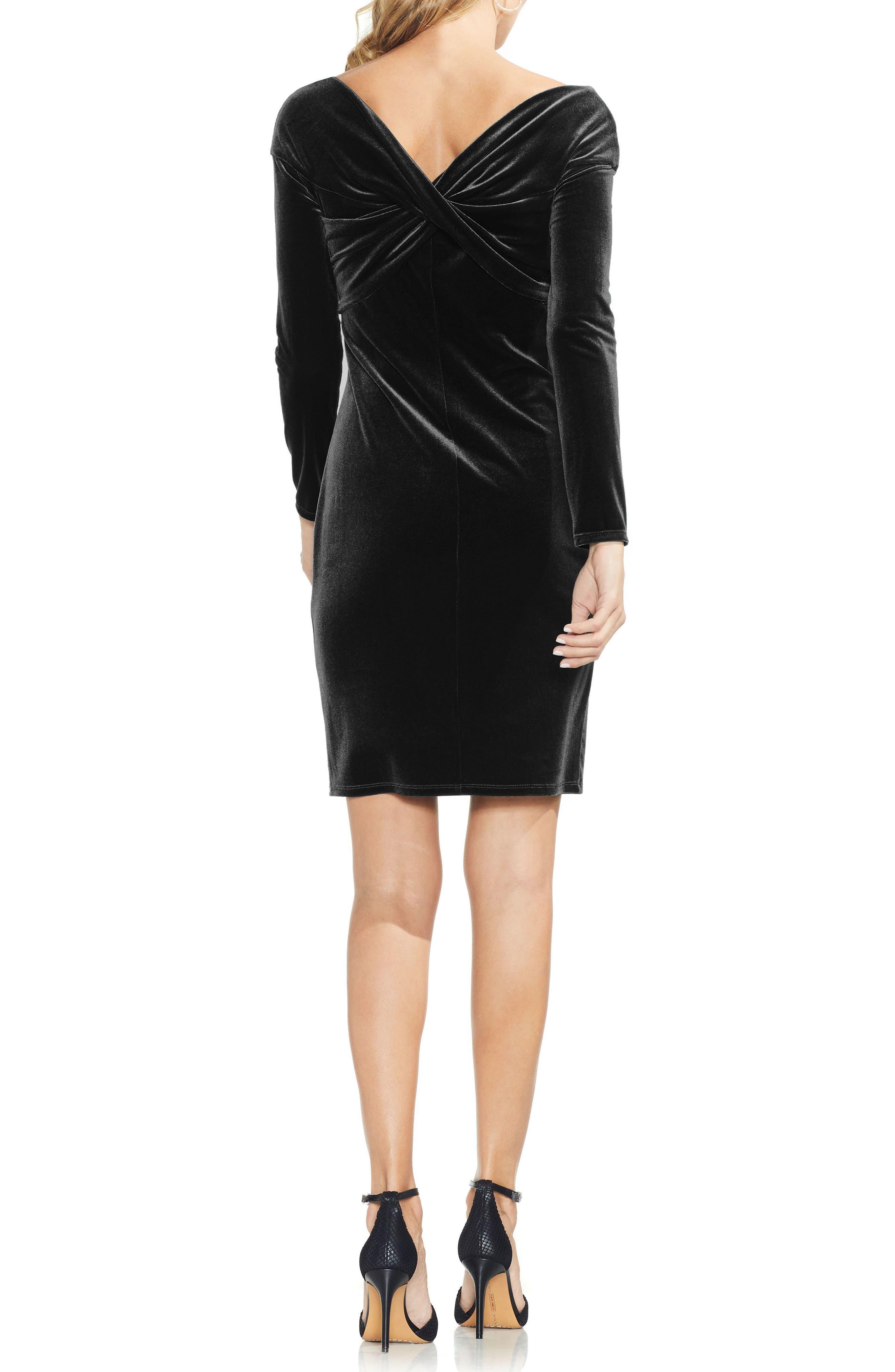 Twist Front Stretch Velvet Dress,                             Alternate thumbnail 2, color,                             RICH BLACK