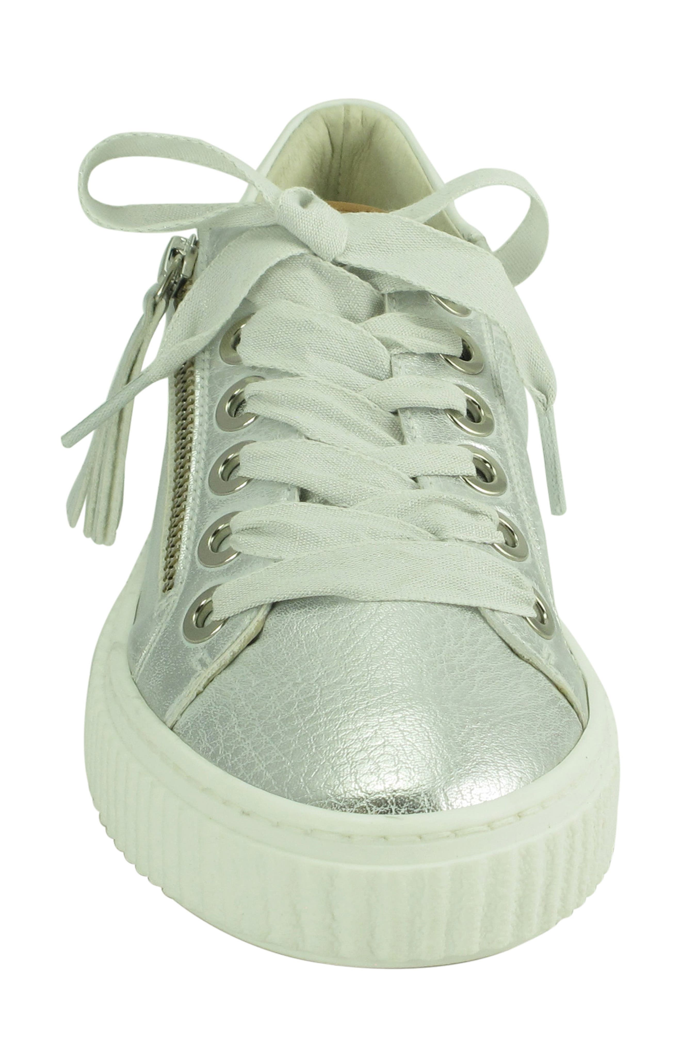 Posey Sneaker,                             Alternate thumbnail 4, color,                             SILVER LEATHER