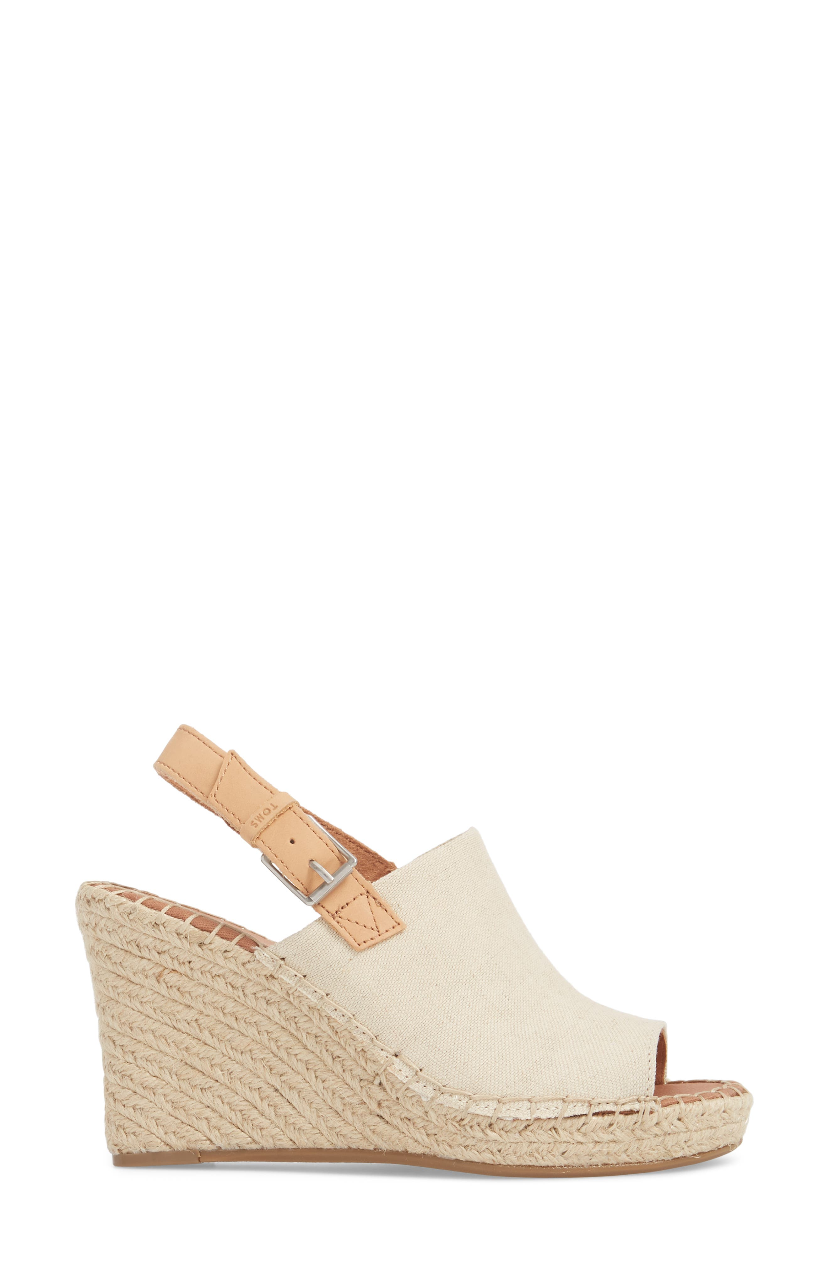 Monica Slingback Wedge,                             Alternate thumbnail 3, color,                             NATURAL HEMP/ LEATHER