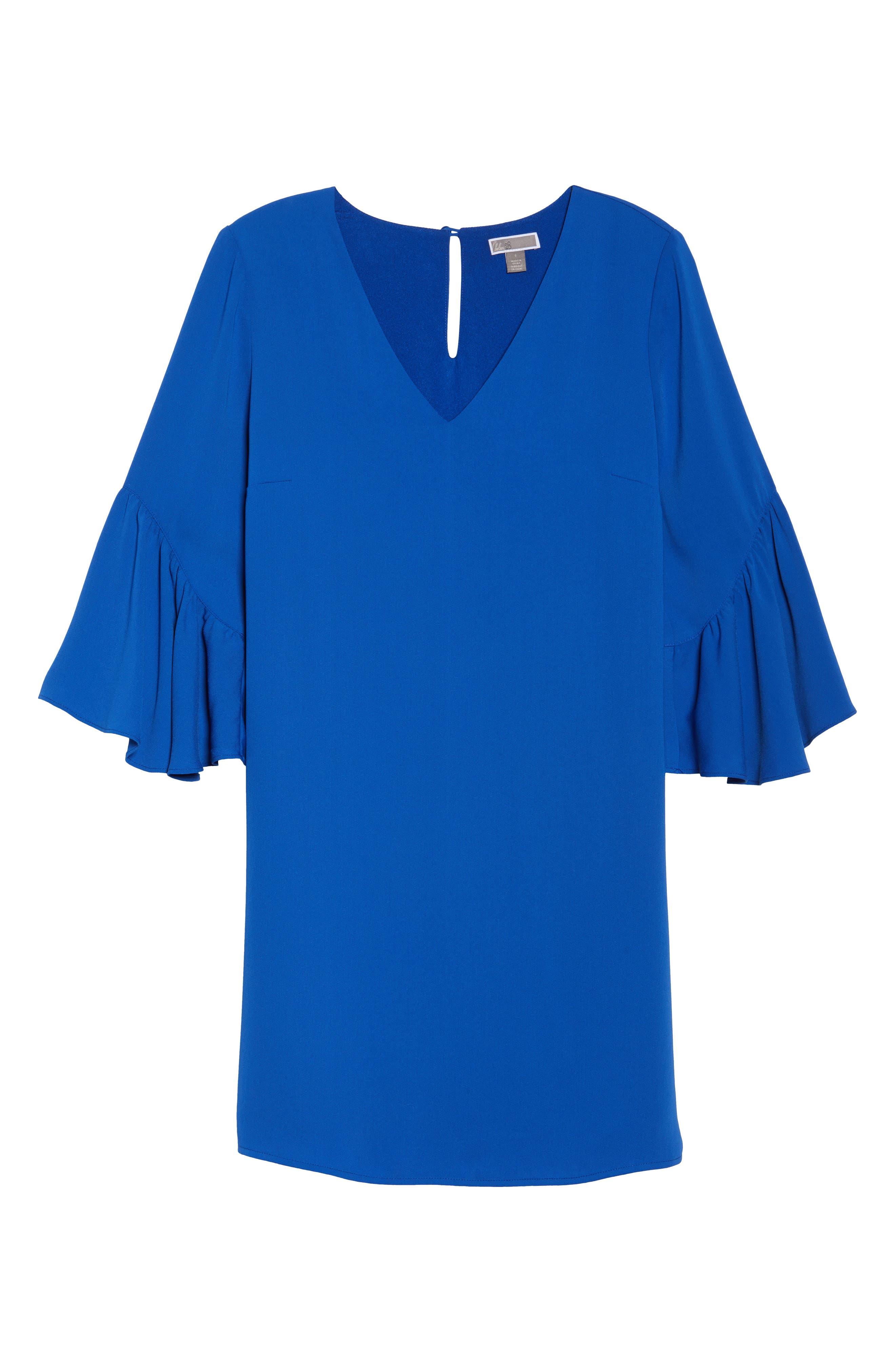 Bell Sleeve Shift Dress,                             Alternate thumbnail 17, color,