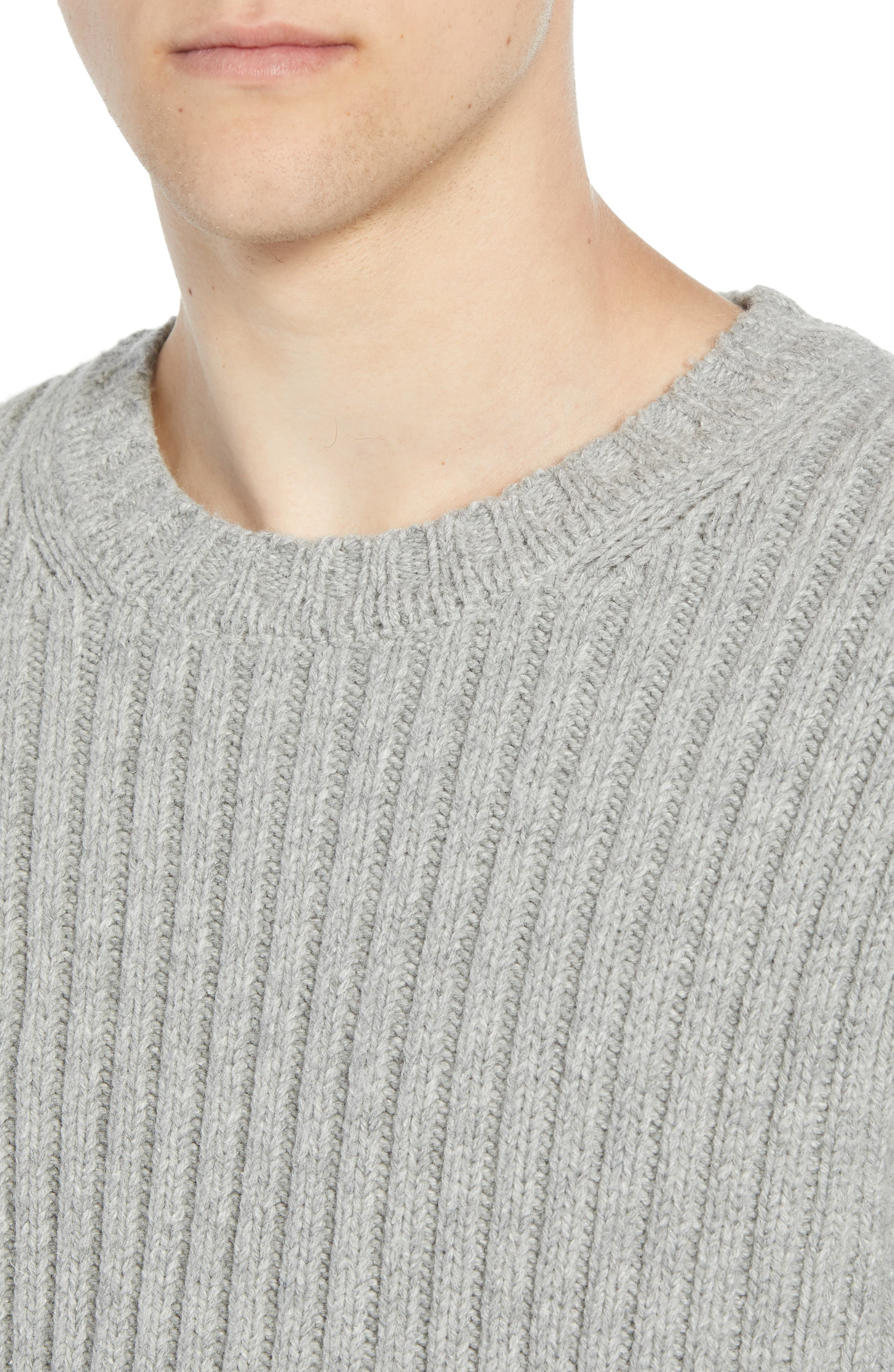 Split Linked Sweater,                             Alternate thumbnail 4, color,                             GREY MELANGE