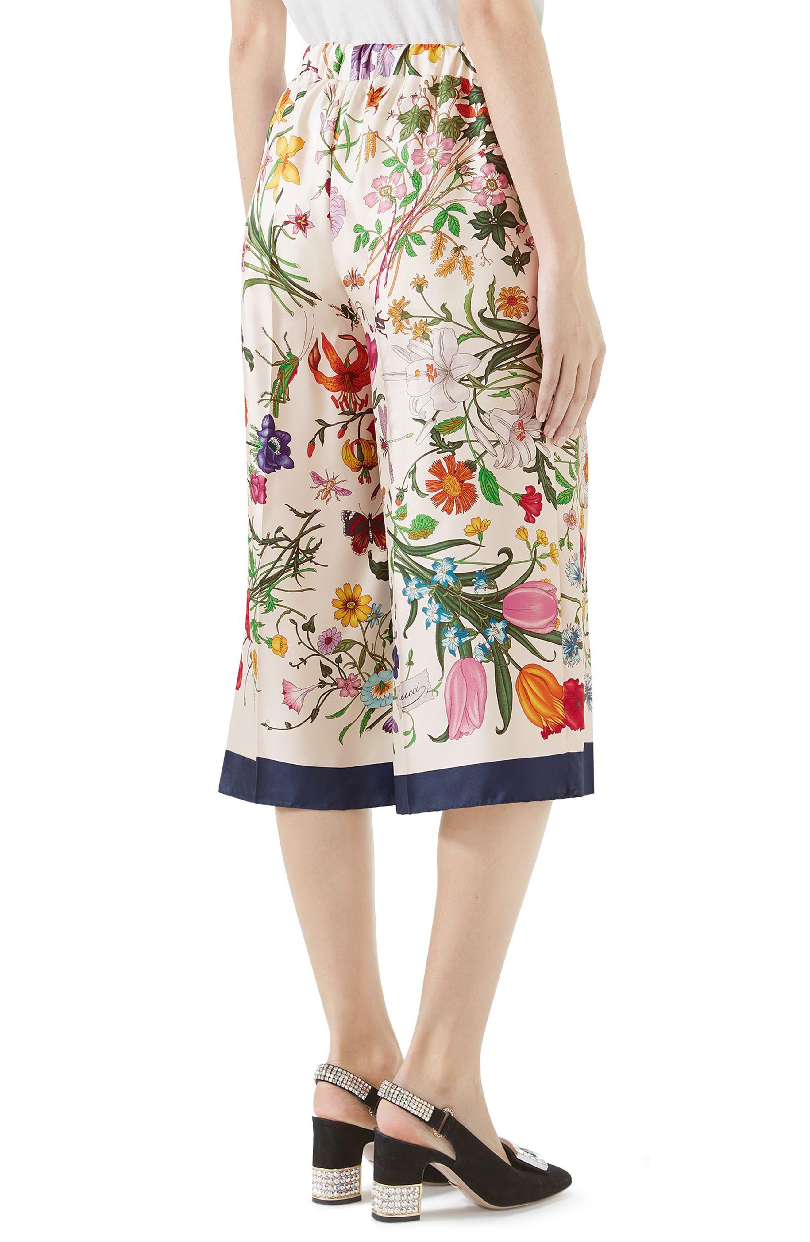 Floral Print Silk Foulard Culottes,                             Alternate thumbnail 2, color,                             BLUE/ IVORY PRINT