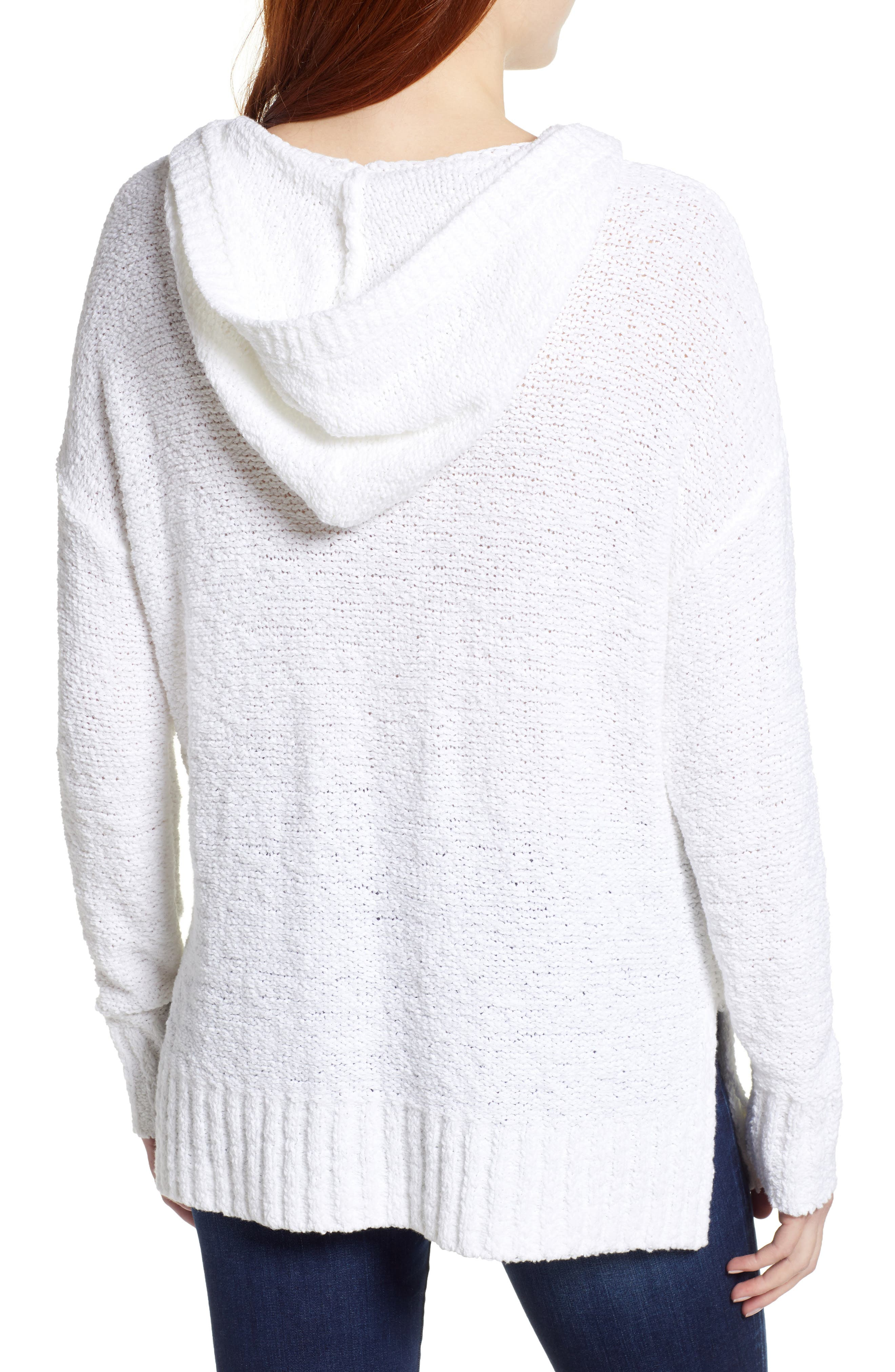 Beachy Hooded Knit Sweater,                             Alternate thumbnail 2, color,                             WHITE