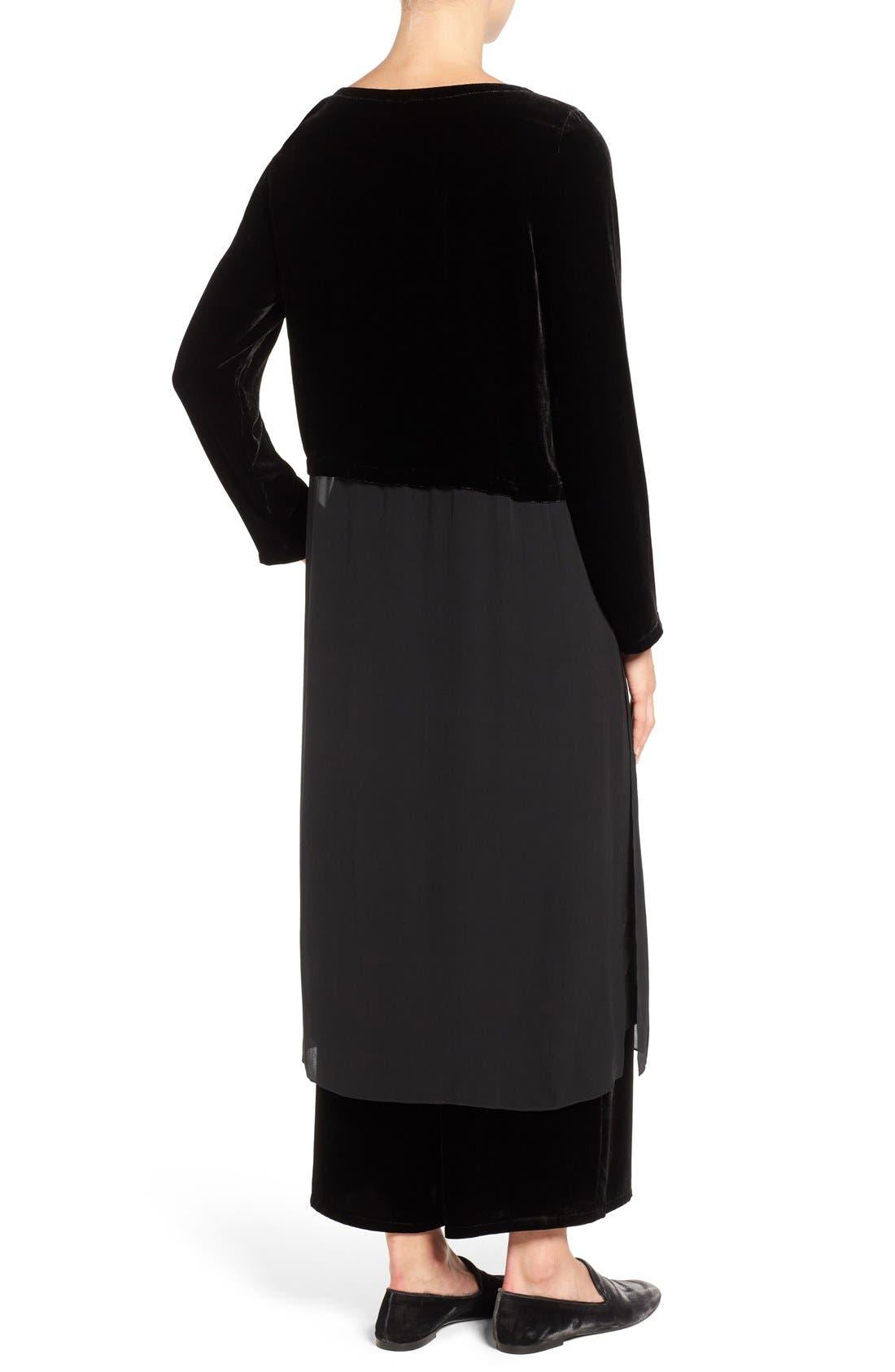 Velvet & Silk Midi Length Shift Dress,                             Alternate thumbnail 6, color,                             001