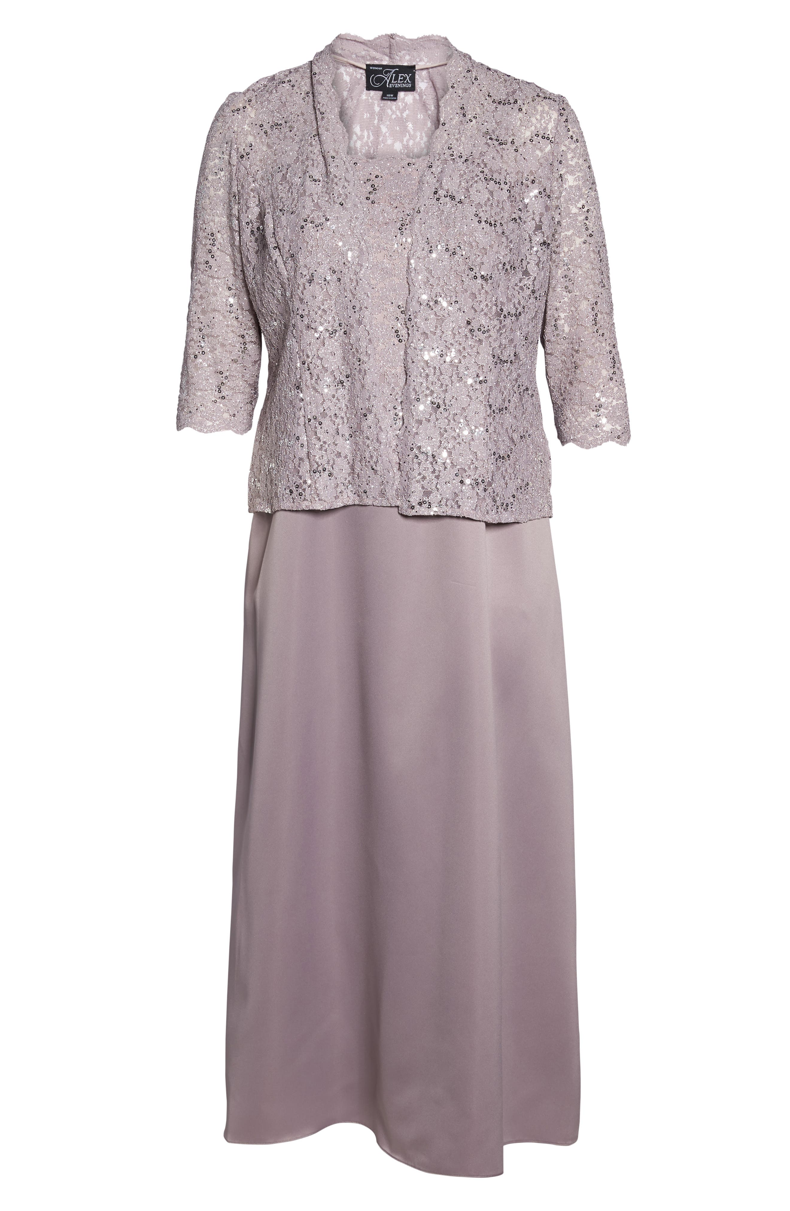 Sequin Lace & Satin Gown with Jacket,                             Alternate thumbnail 6, color,                             695