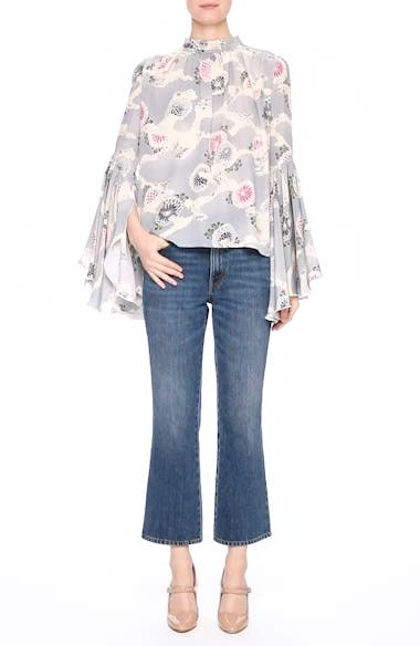 Flutter Sleeve Floral Print Silk Blouse, video thumbnail