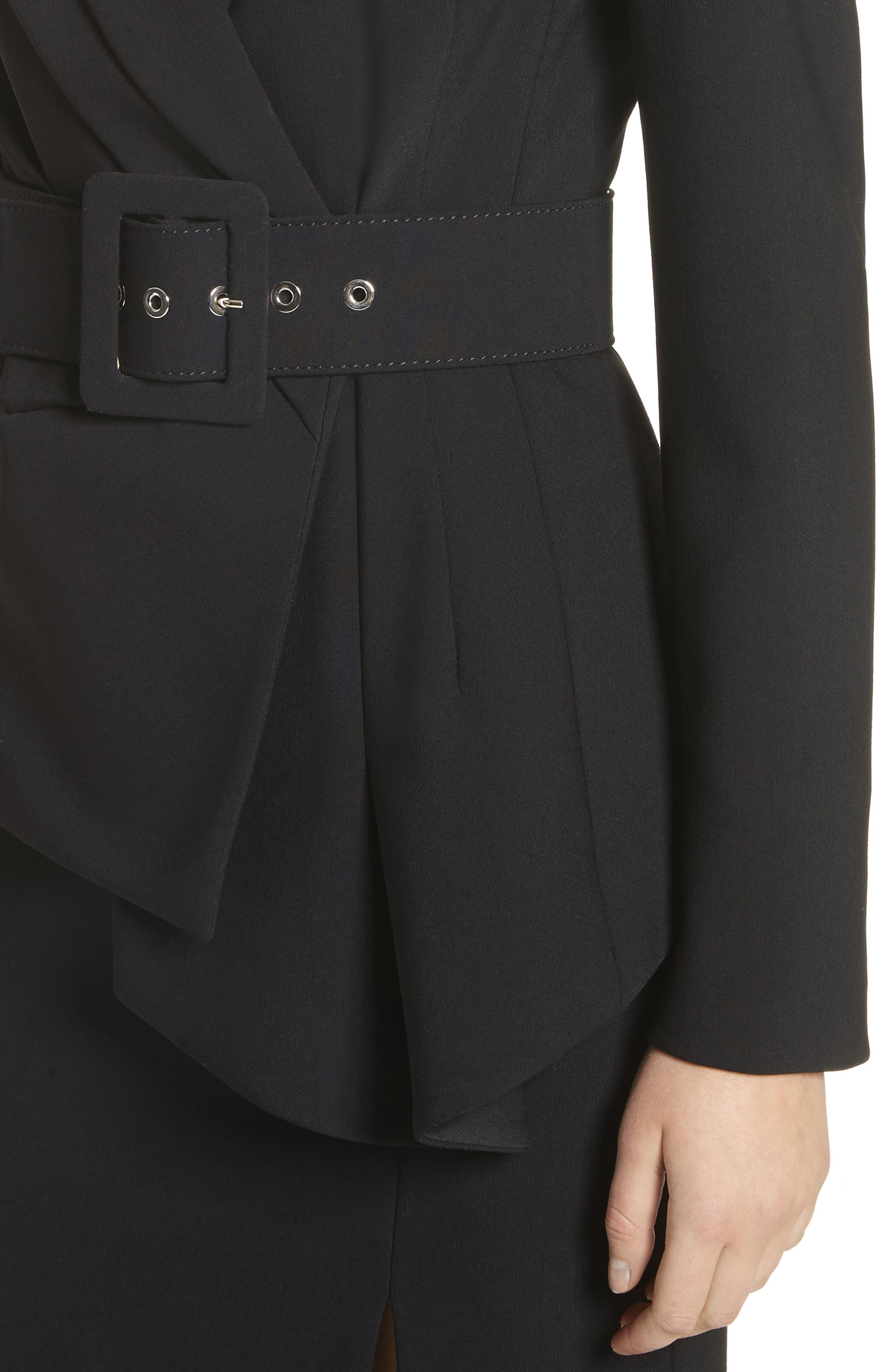 Belted Wool Blend Pebble Crepe Blazer,                             Alternate thumbnail 4, color,                             BLACK