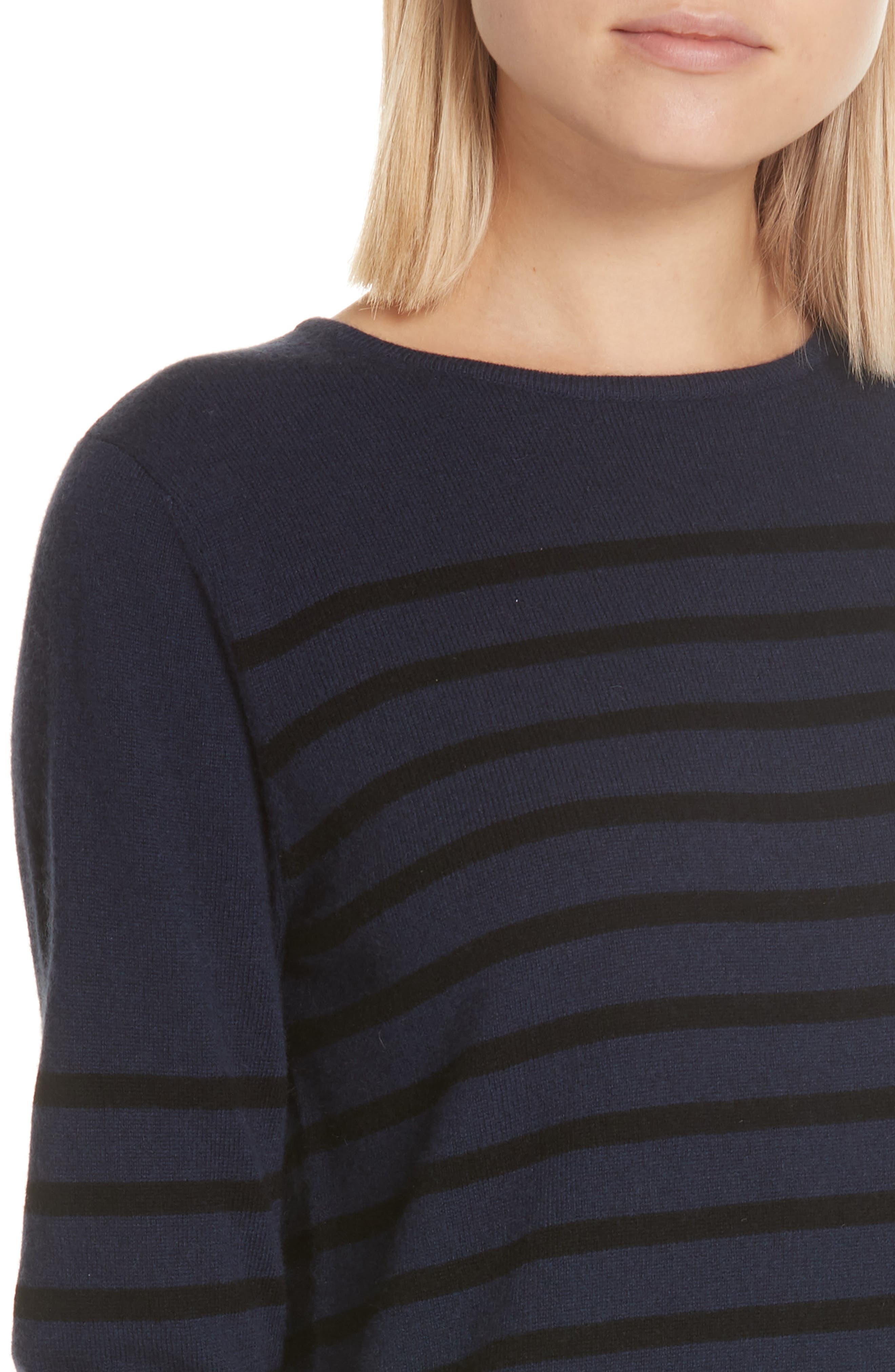 Stripe Wool & Cashmere Sweater Dress,                             Alternate thumbnail 4, color,                             NAVY/ BLACK