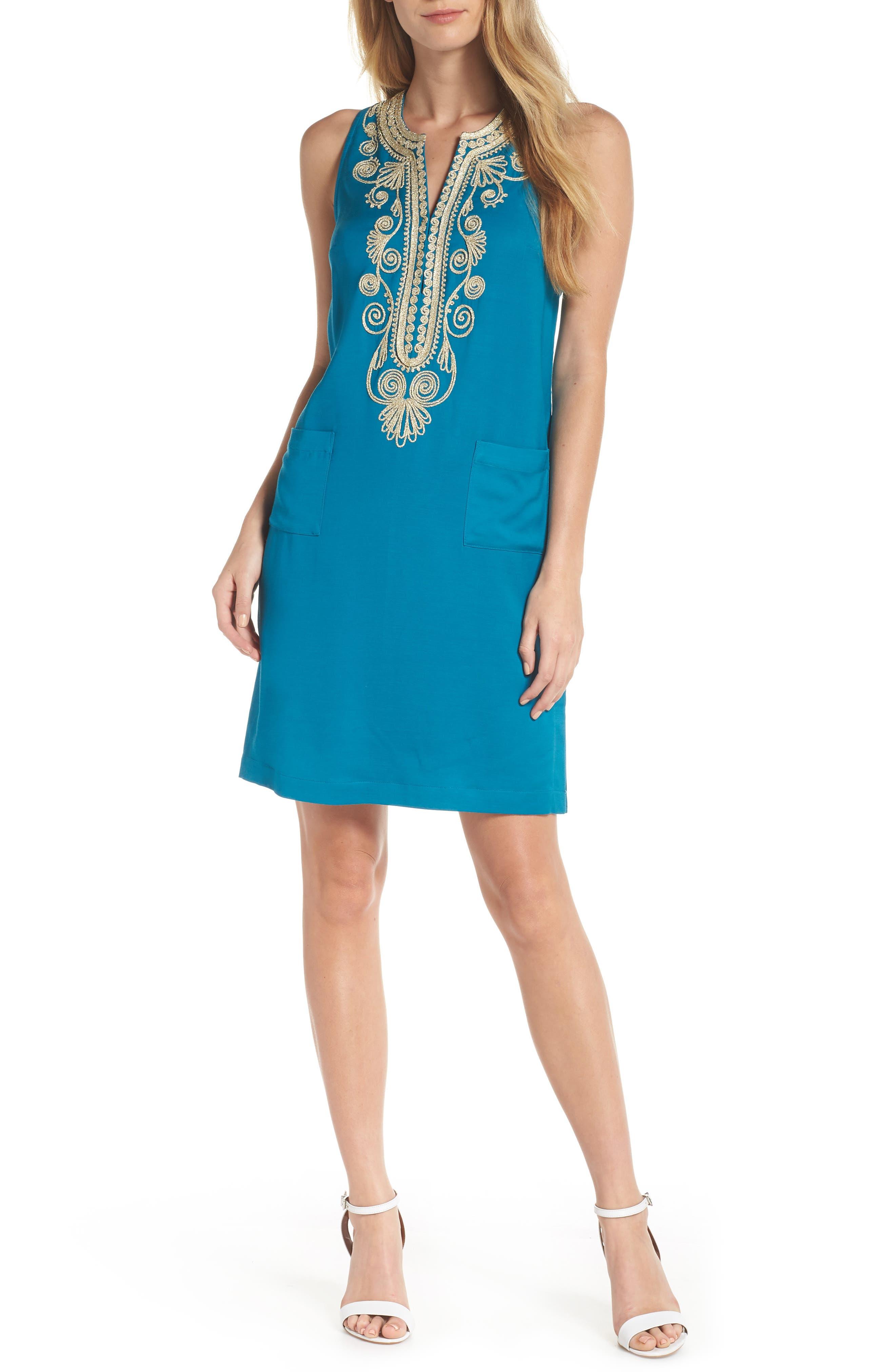 Carlotta Shift Dress,                             Main thumbnail 1, color,                             TIDAL WAVE