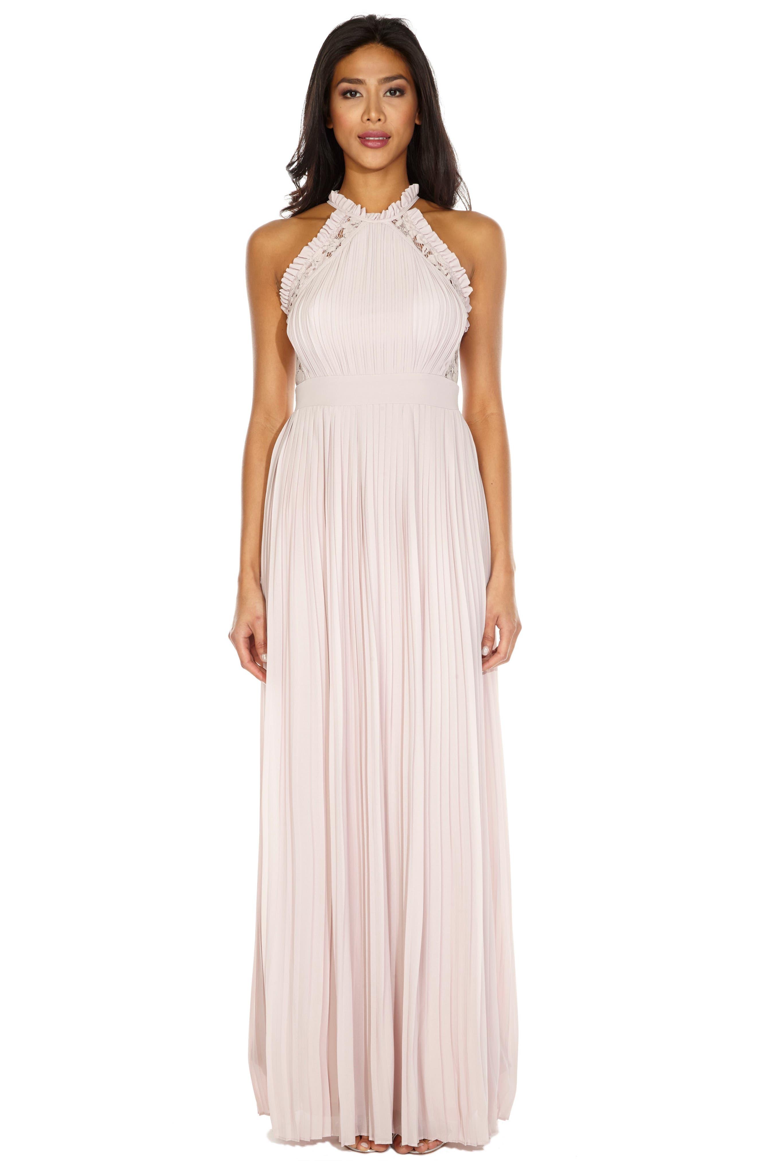 TFNC,                             Dousha Pleated Halter Gown,                             Alternate thumbnail 4, color,                             660