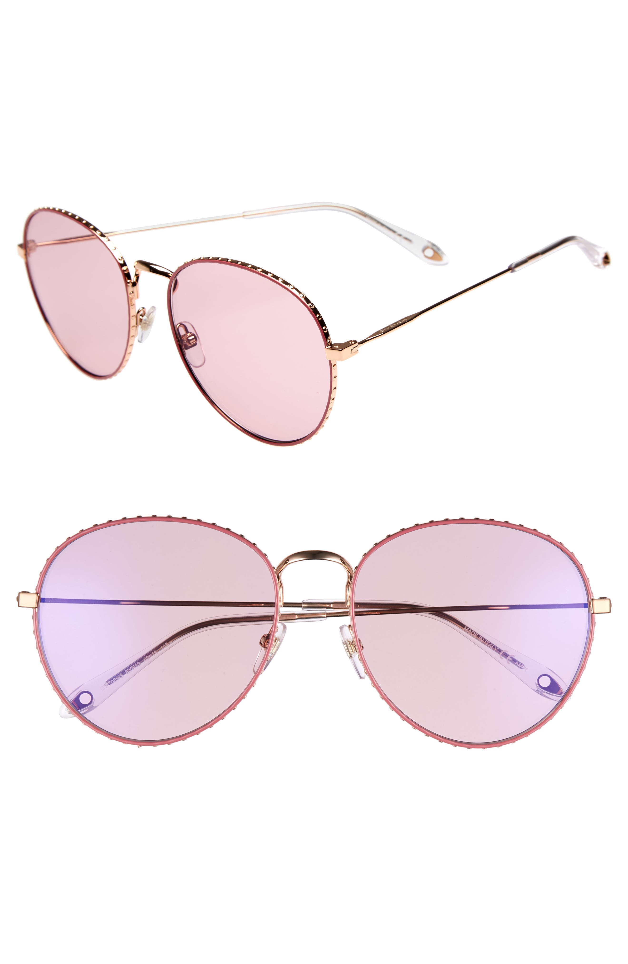 60mm Round Metal Sunglasses,                             Main thumbnail 1, color,                             710