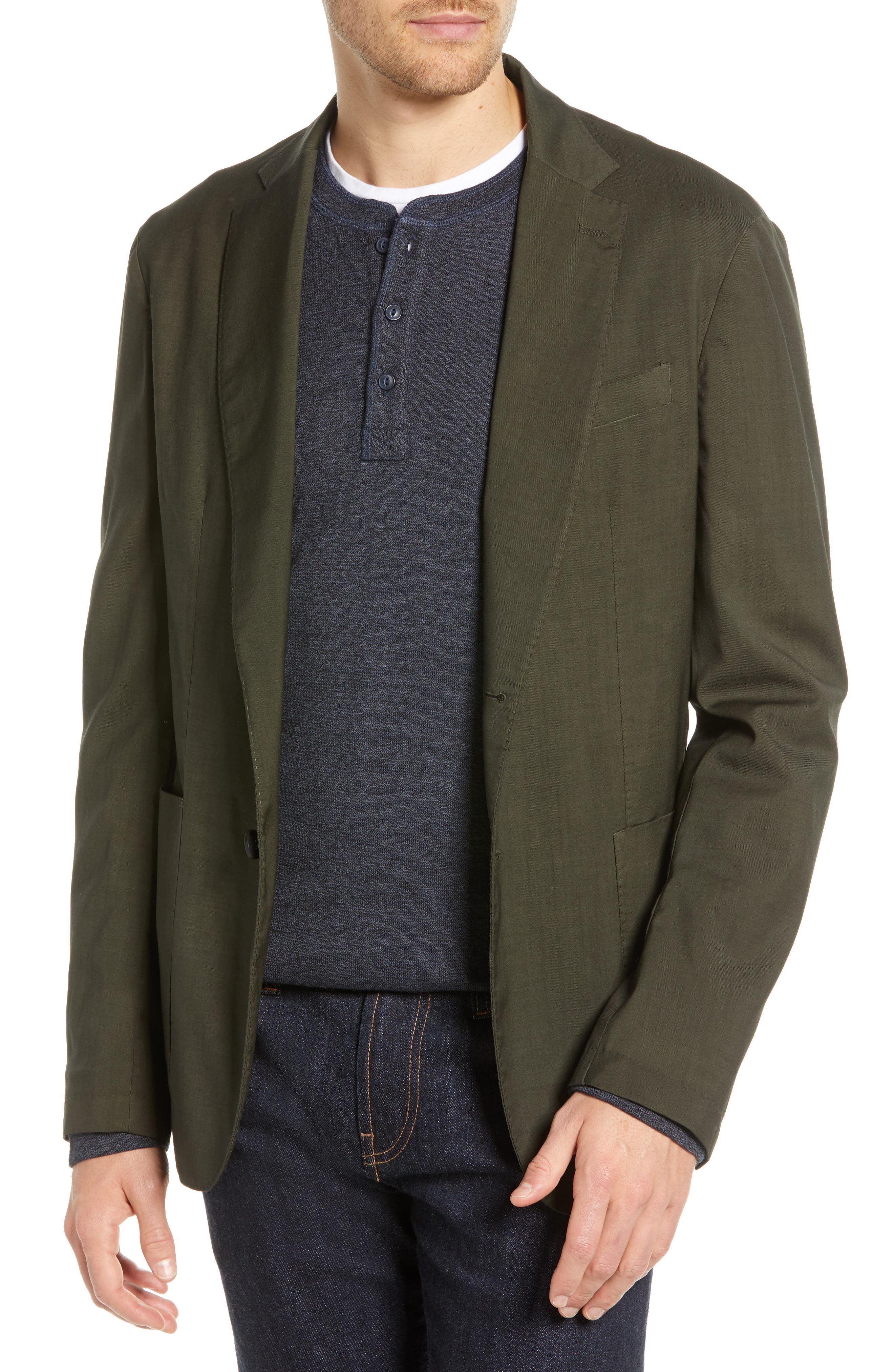 Extra Trim Fit Garment Dyed Wool Sport Coat, Main, color, OLIVE