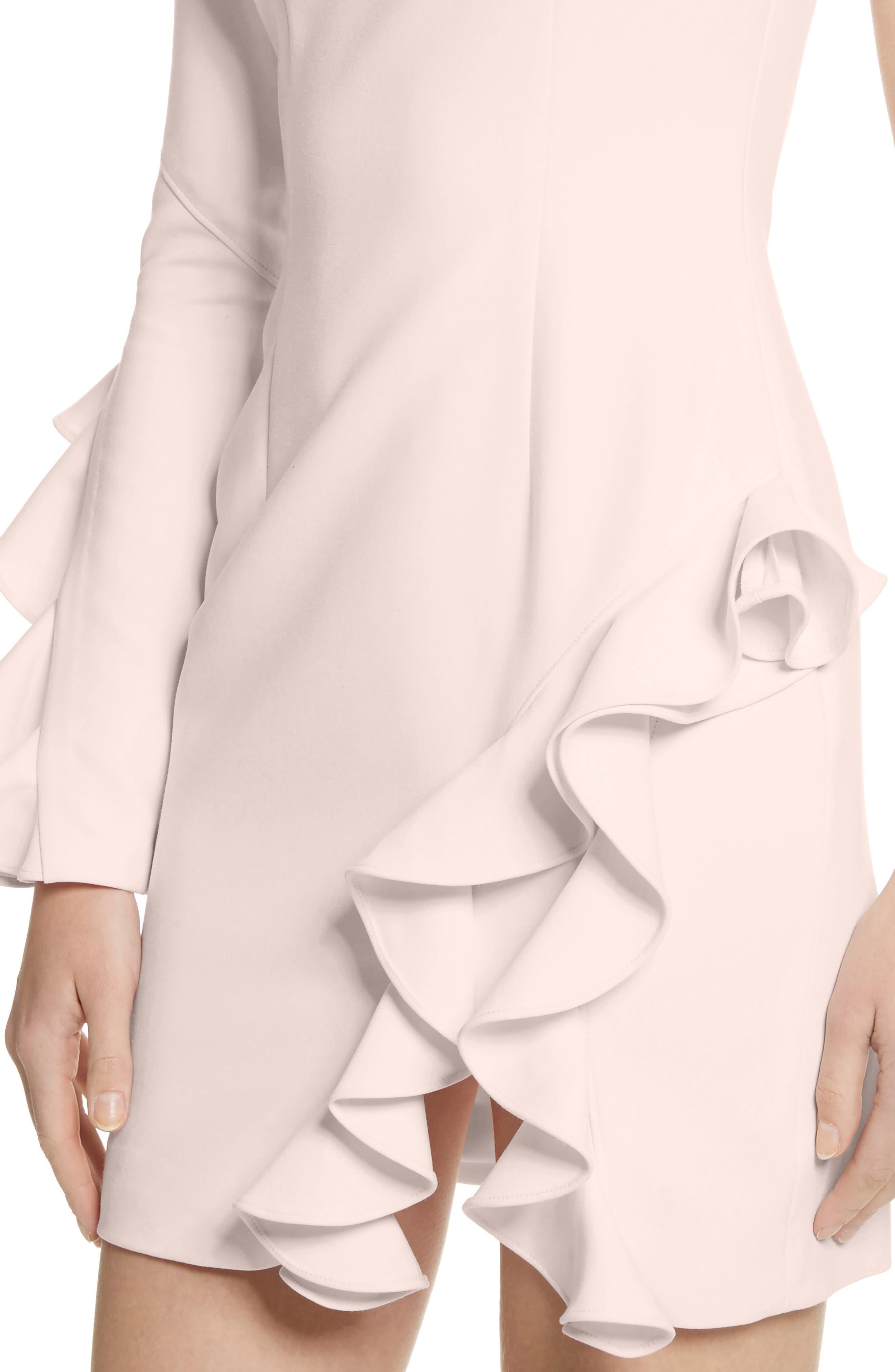 Pia Ruffle Trim One-Shoulder Dress,                             Alternate thumbnail 4, color,                             656