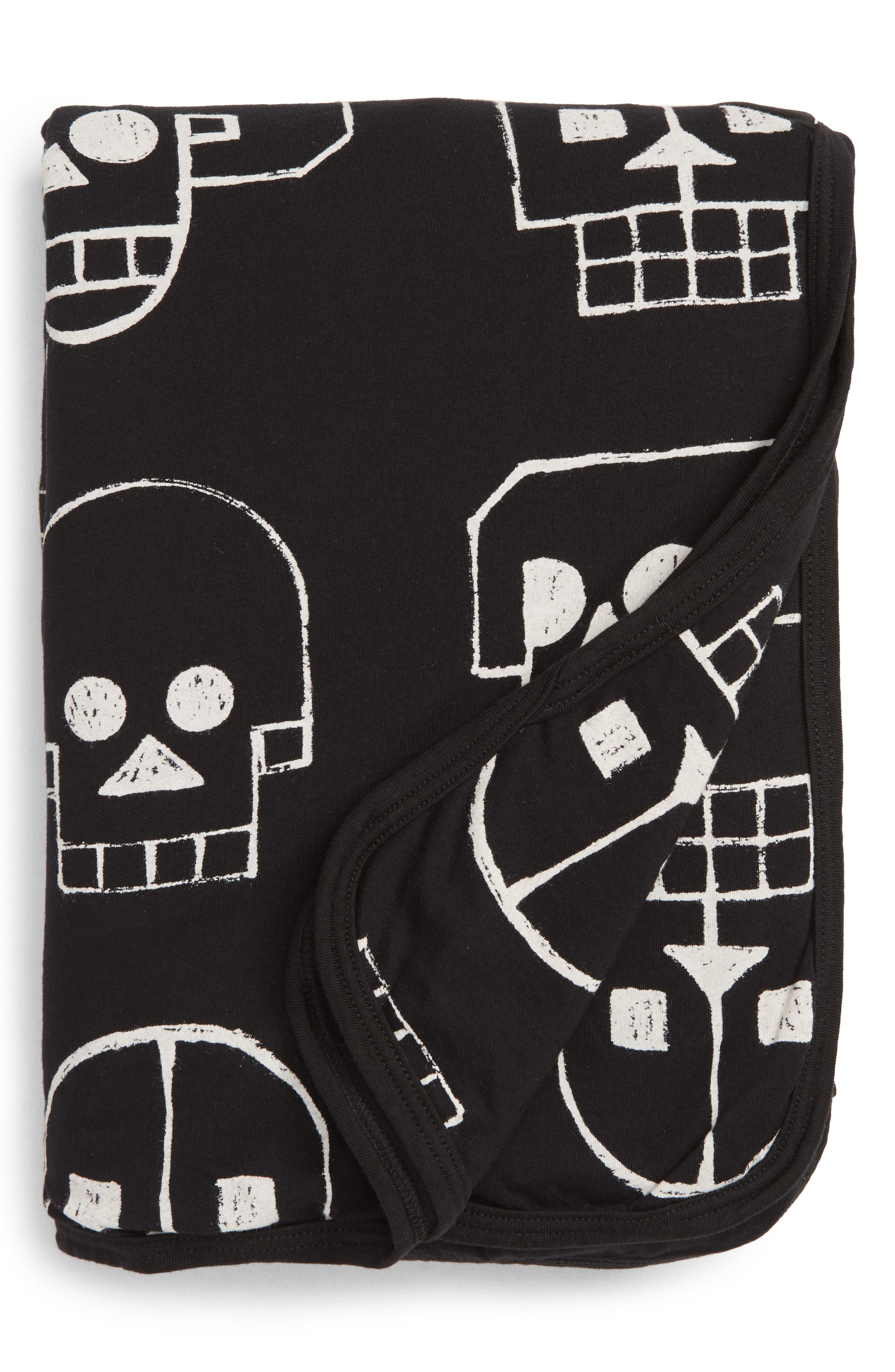 Skull Robot Print Blanket,                             Main thumbnail 1, color,                             BLACK