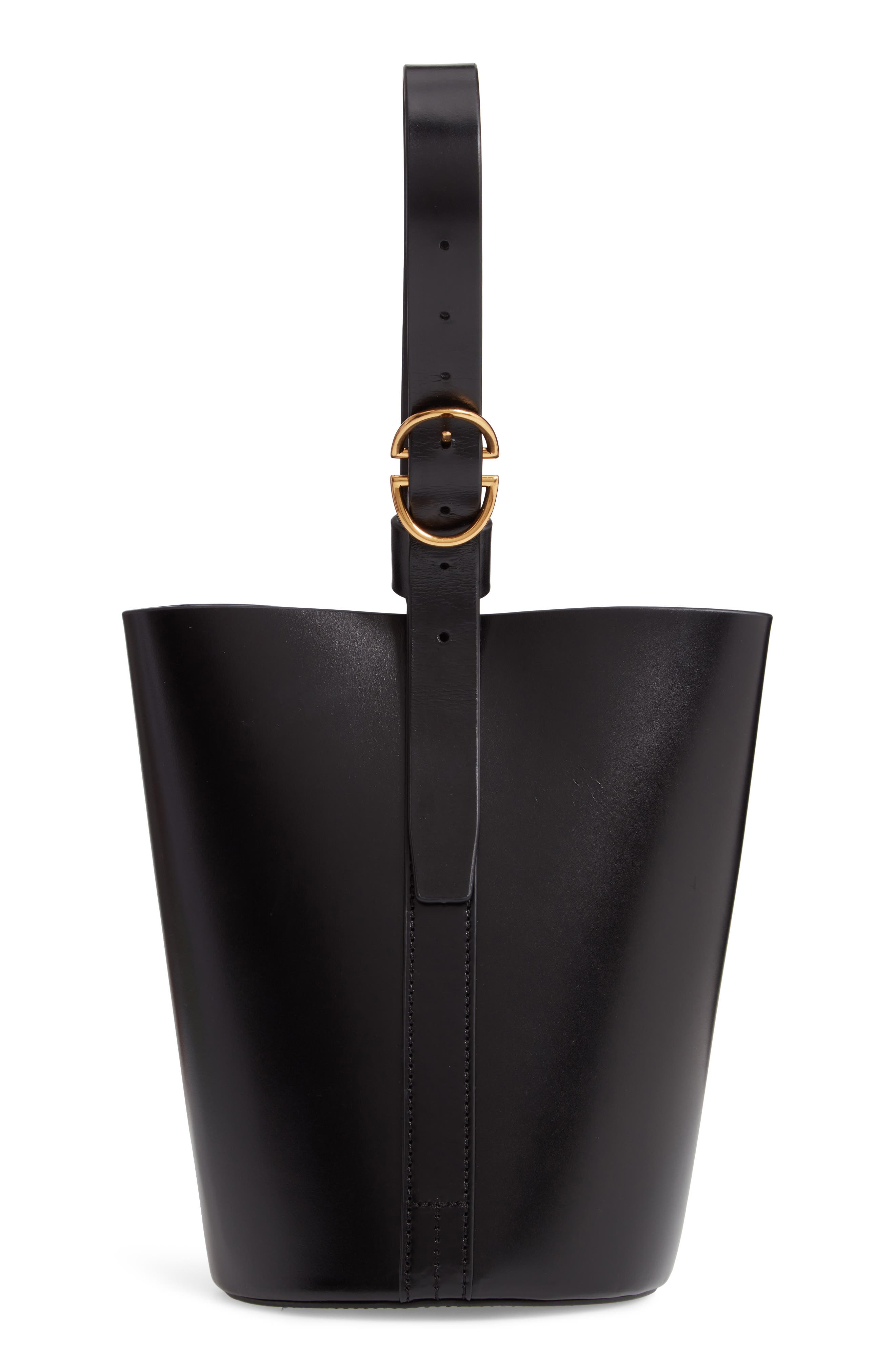 Small Leather Bucket Bag, Main, color, BLACK