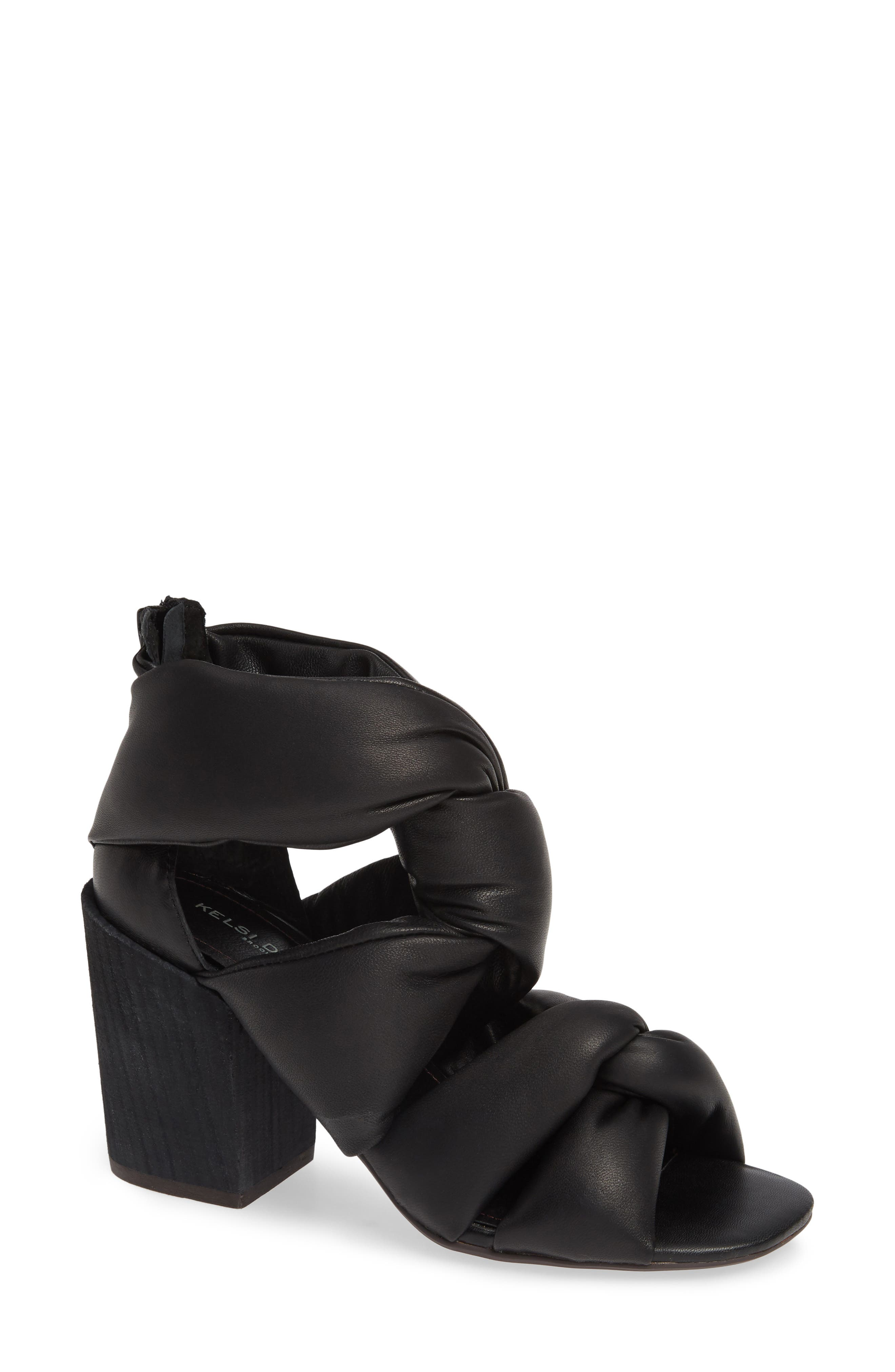 KELSI DAGGER BROOKLYN,                             Maddox Knotted Strap Sandal,                             Main thumbnail 1, color,                             BLACK