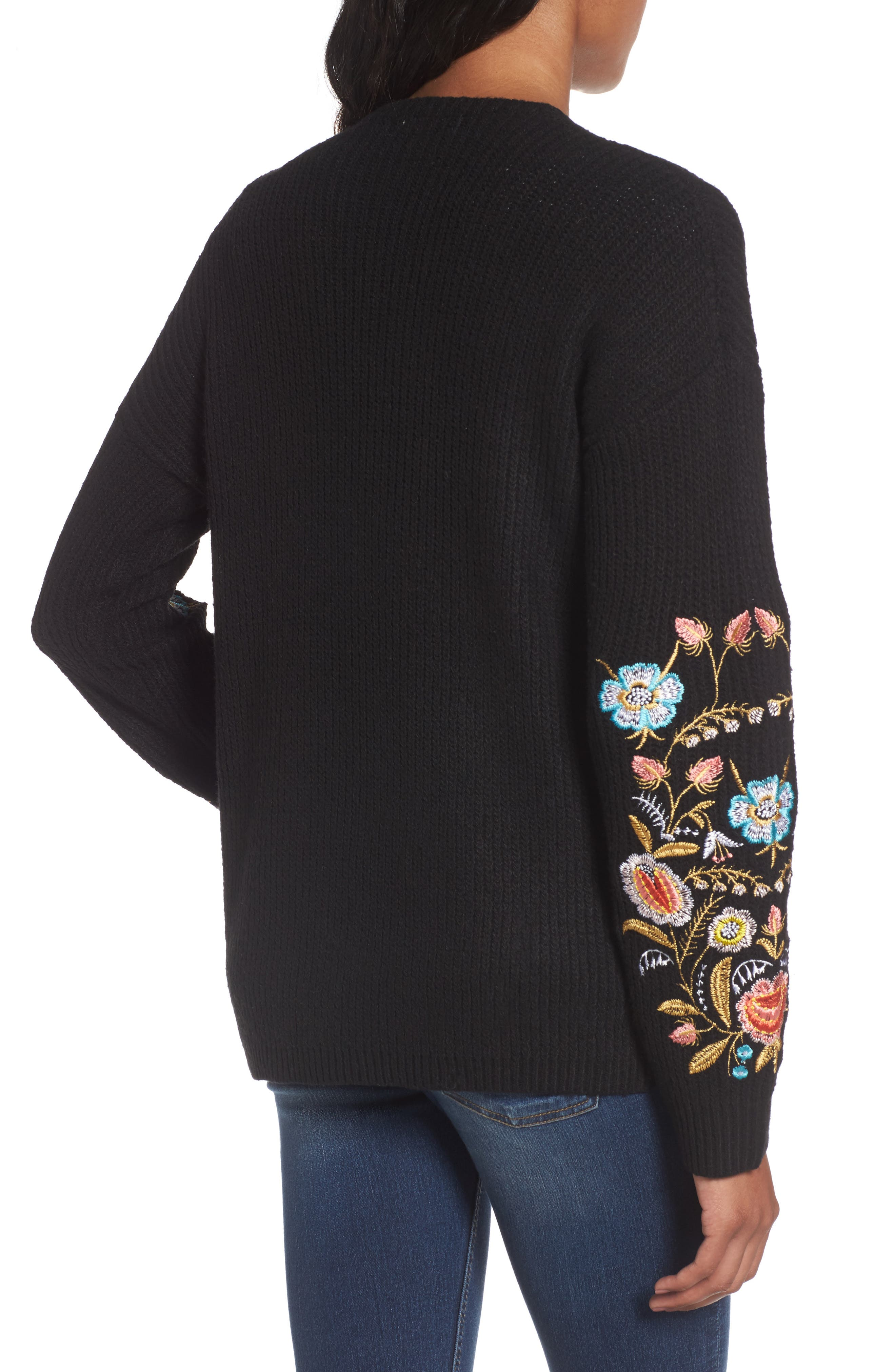Embroidered Cardigan,                             Alternate thumbnail 2, color,                             001