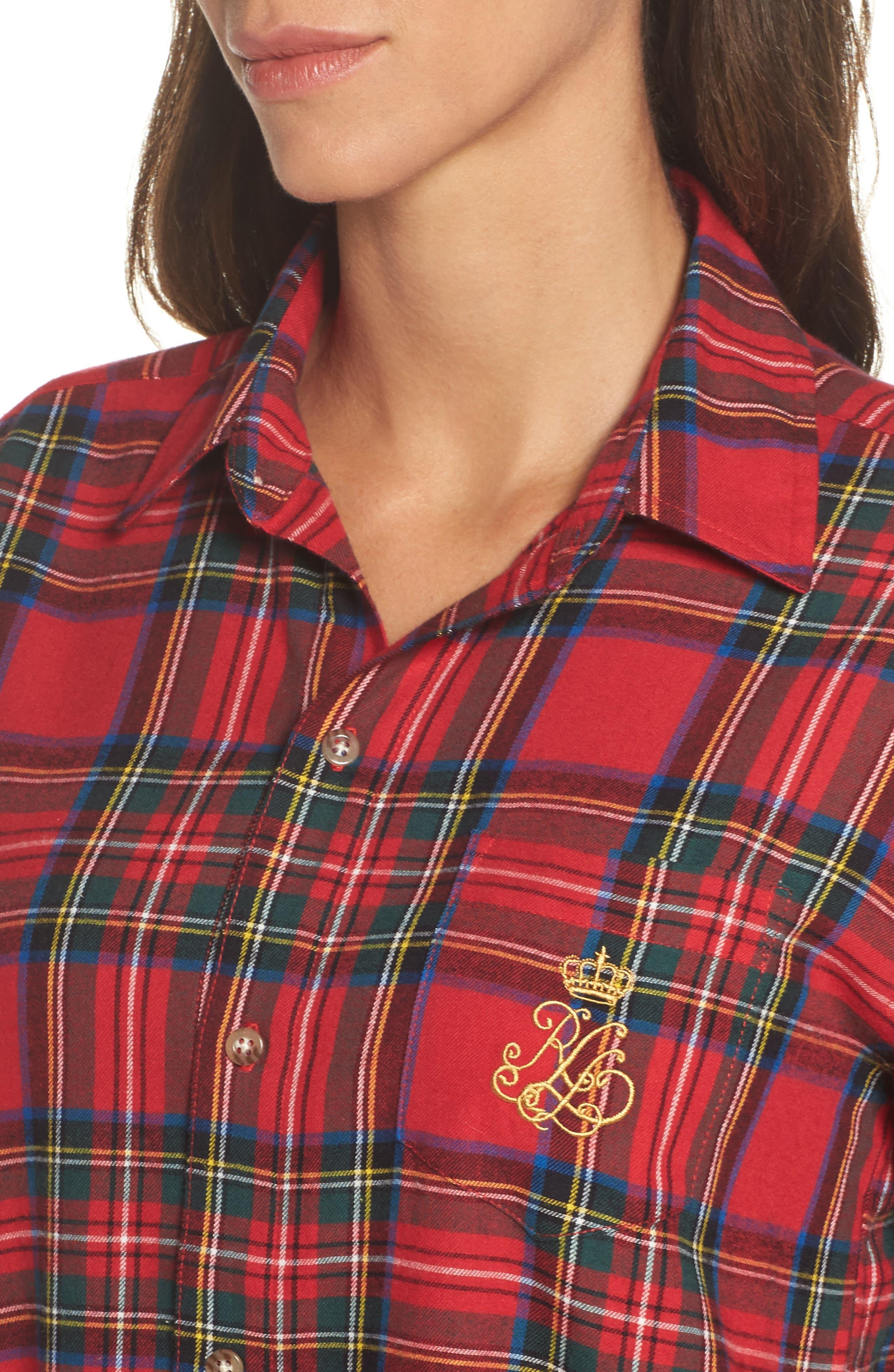 Flannel Sleep Shirt,                             Alternate thumbnail 14, color,