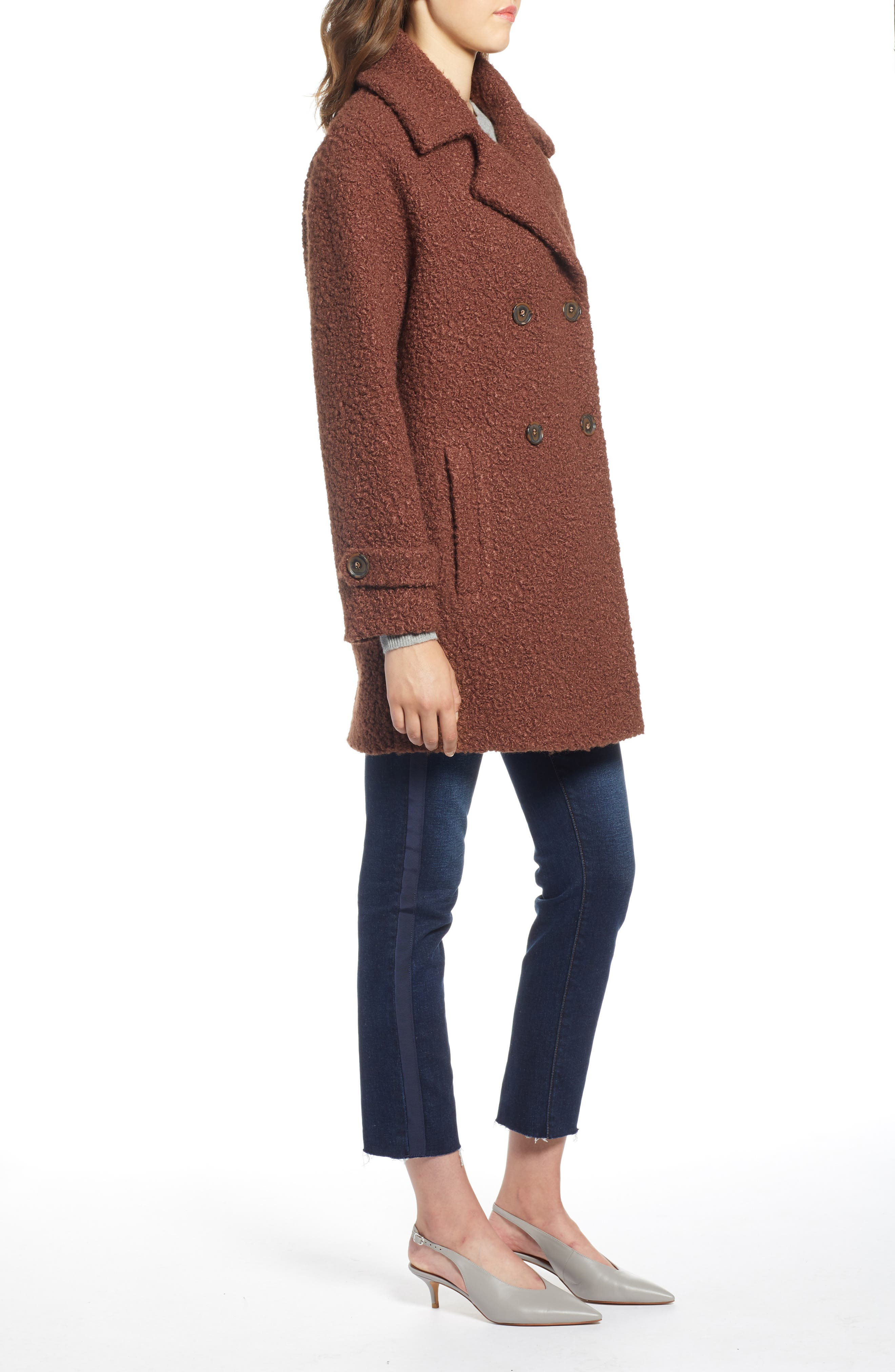 Double Breasted Bouclé Coat,                             Alternate thumbnail 3, color,                             COGNAC