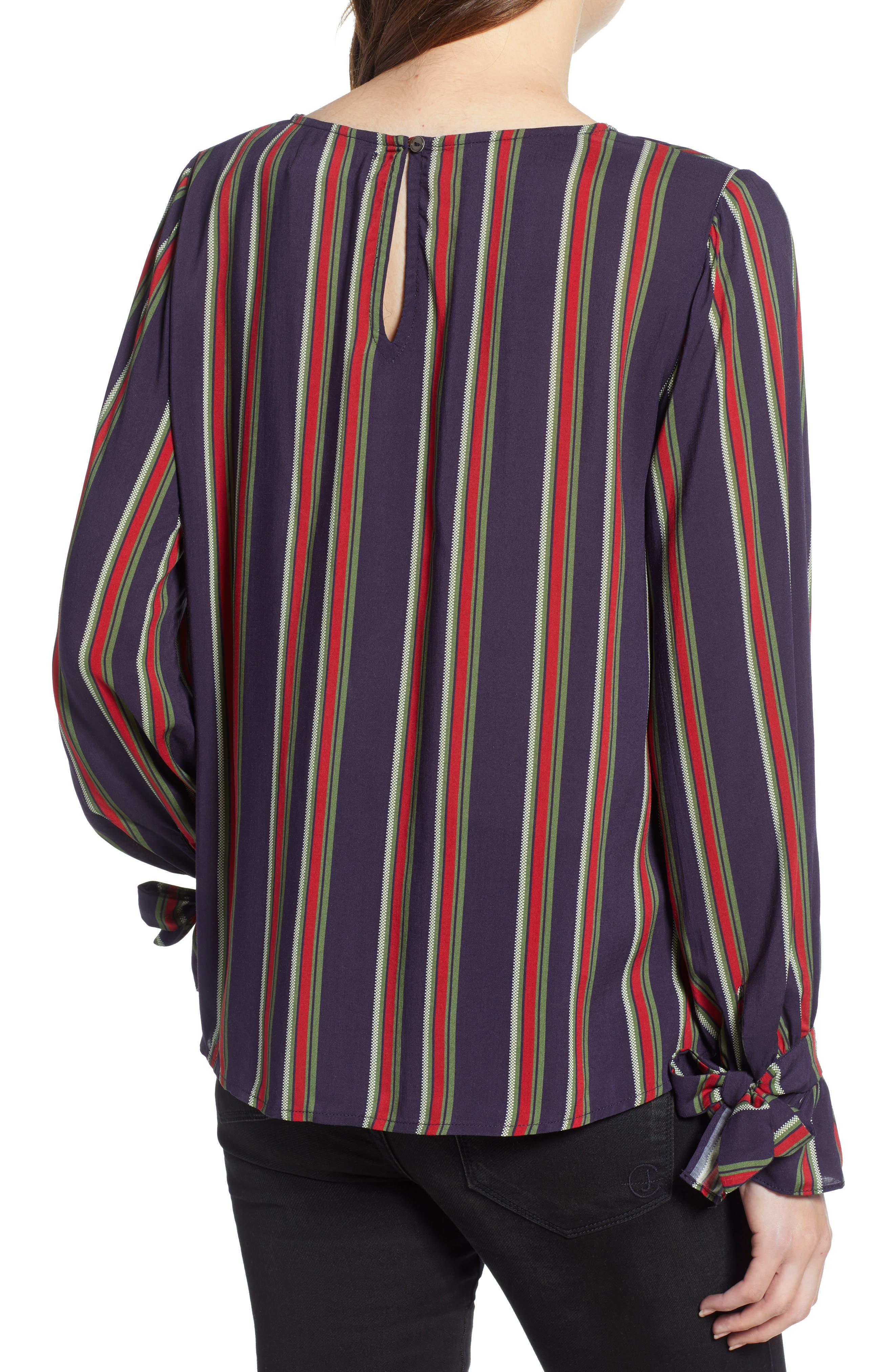 VELVET BY GRAHAM & SPENCER,                             School Stripe Tie Sleeve Top,                             Alternate thumbnail 2, color,                             438