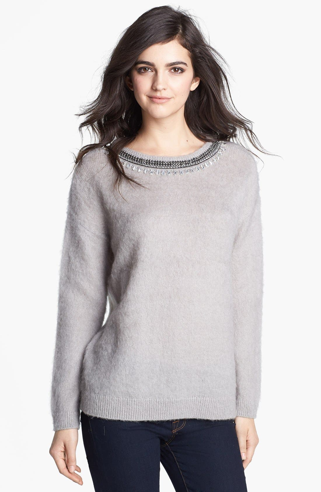Jewel Neck Textured Sweater,                             Main thumbnail 1, color,                             020