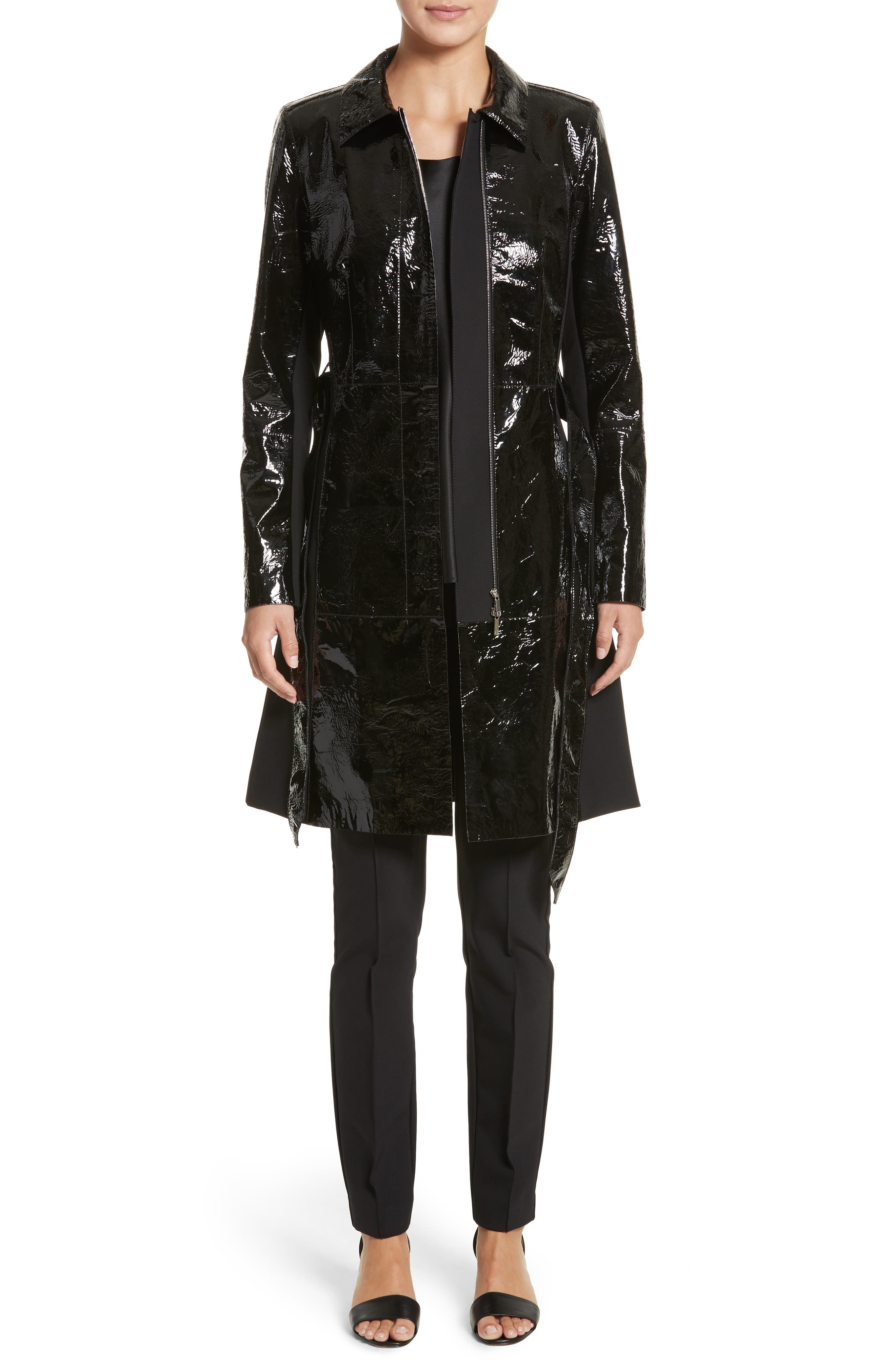 Paola Tech Combo Patent Leather Trench Coat,                             Alternate thumbnail 7, color,