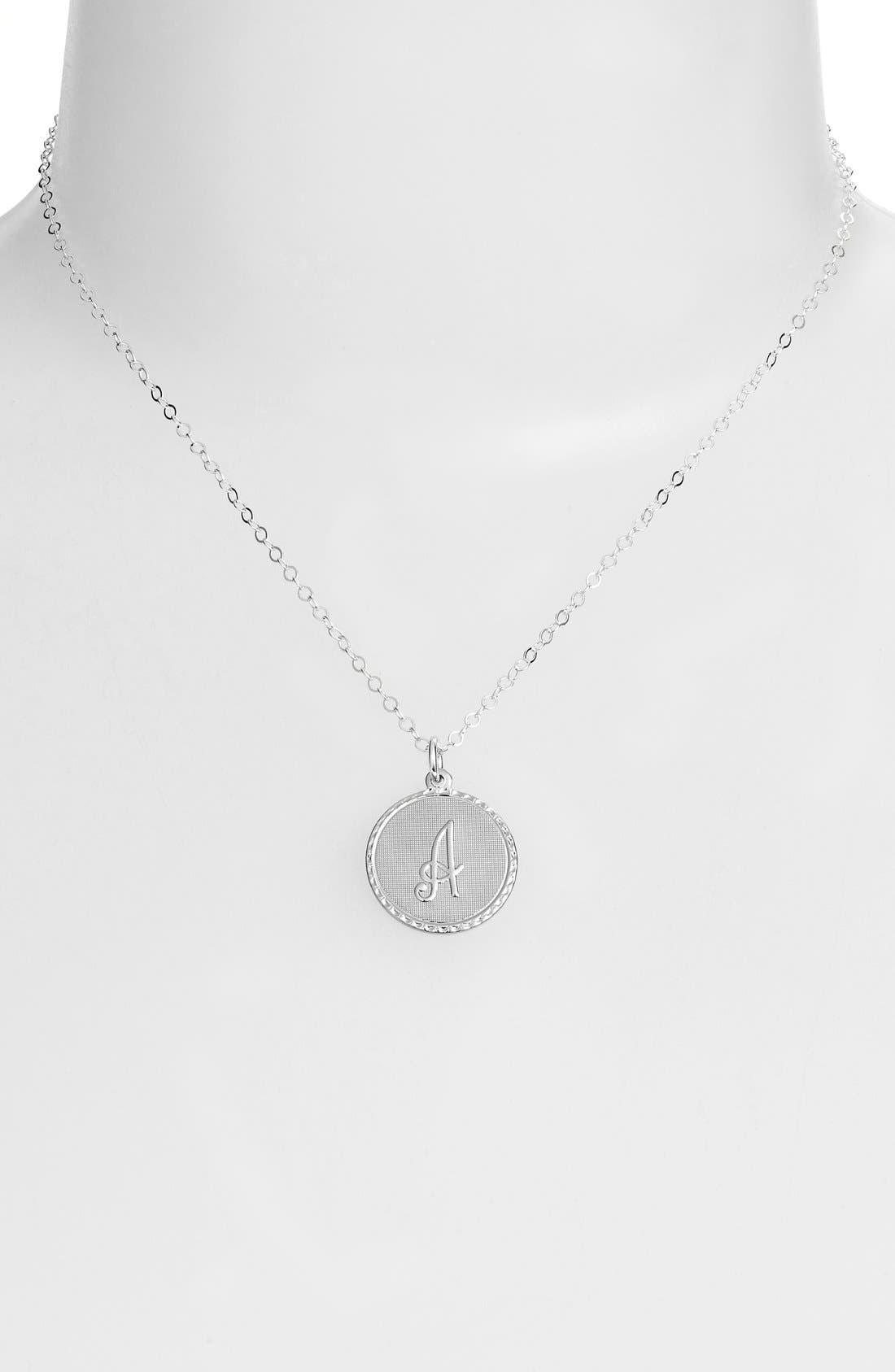 MOON AND LOLA,                             'Dalton' Initial Pendant Necklace,                             Alternate thumbnail 2, color,                             SILVER- A