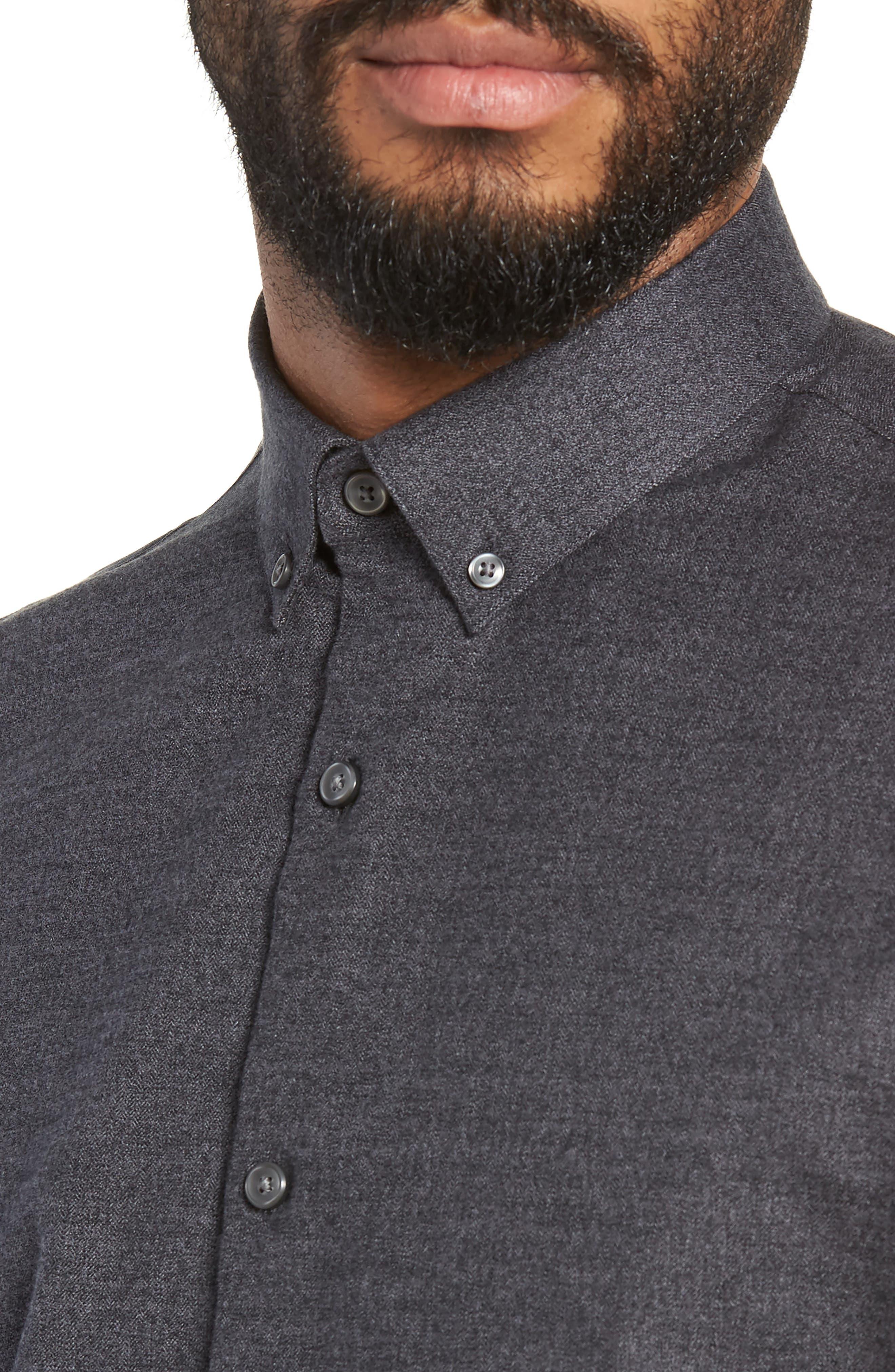 Slim Fit Mini Collar Mélange Sport Shirt,                             Alternate thumbnail 2, color,                             GREY TORNADO JASPE