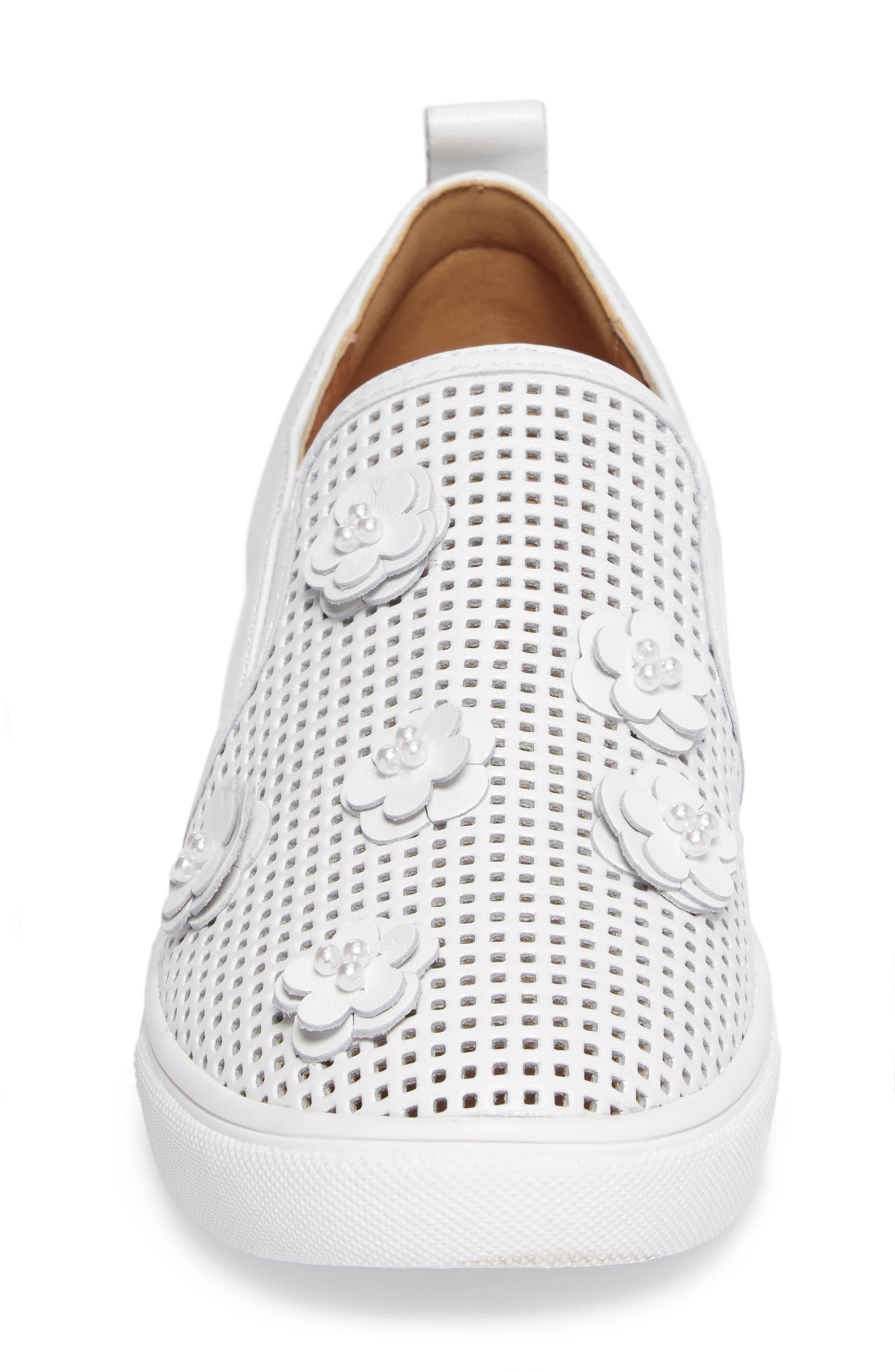Eden Perforated Slip-On Sneaker,                             Alternate thumbnail 4, color,                             100