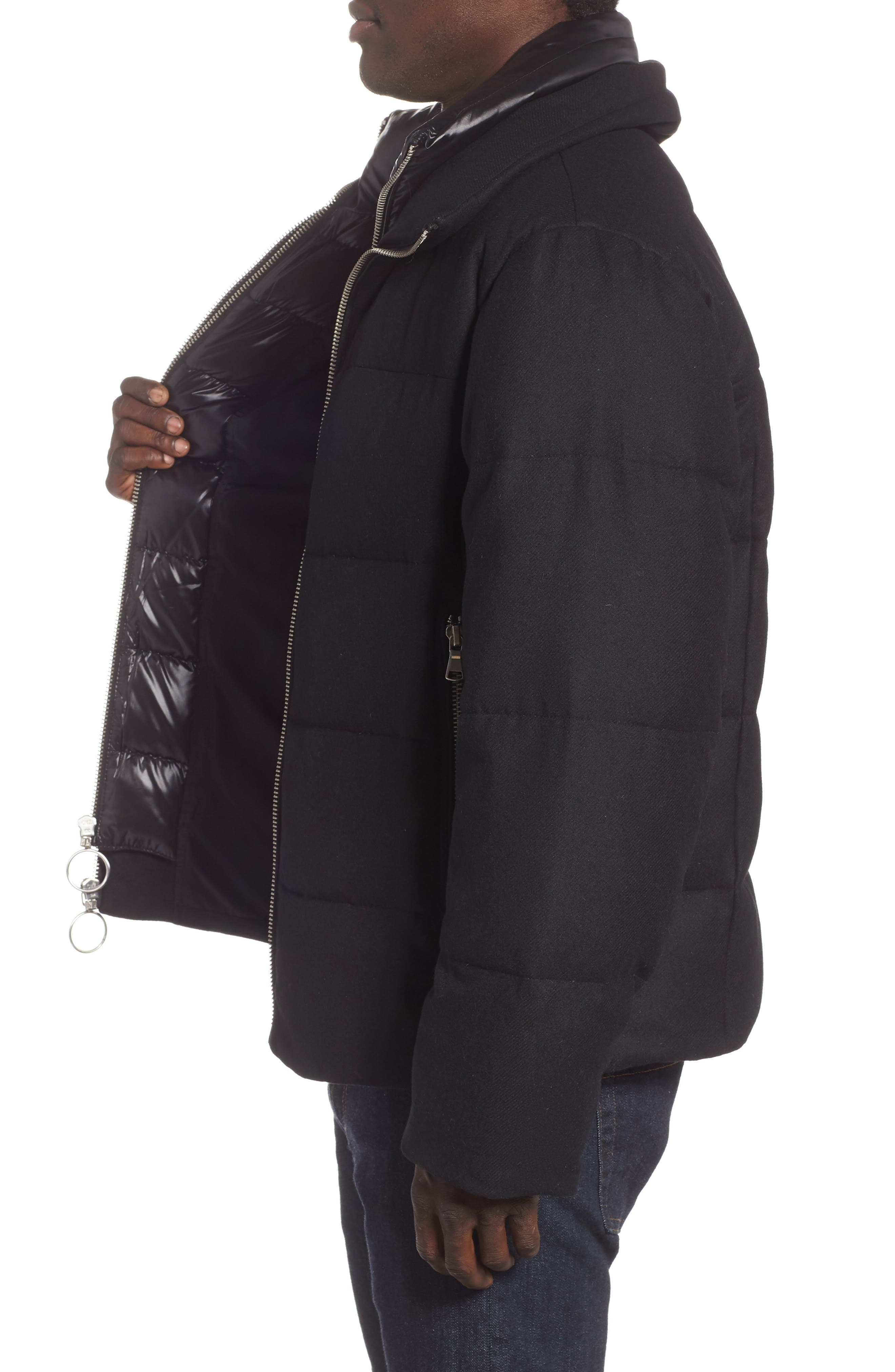 Wool Blend Puffer Jacket,                             Alternate thumbnail 3, color,                             BLACK