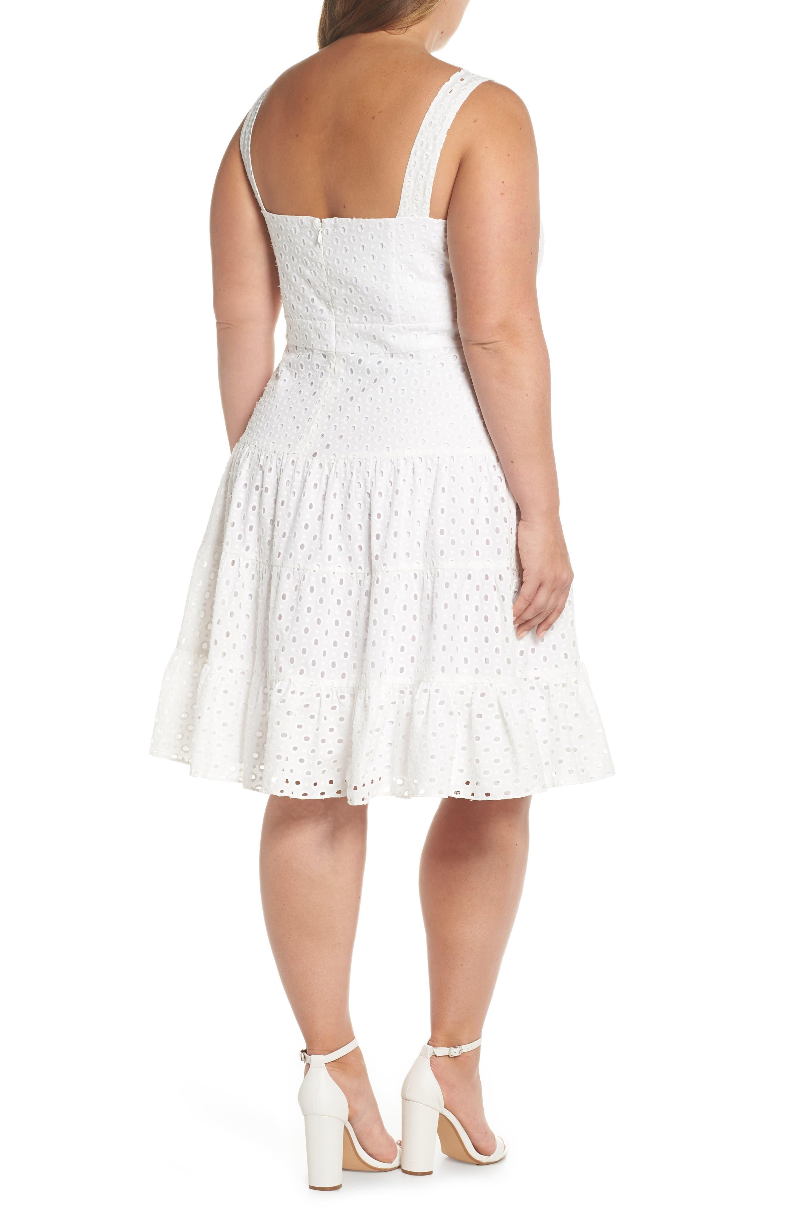 Eyelet Fit & Flare Dress,                             Alternate thumbnail 2, color,